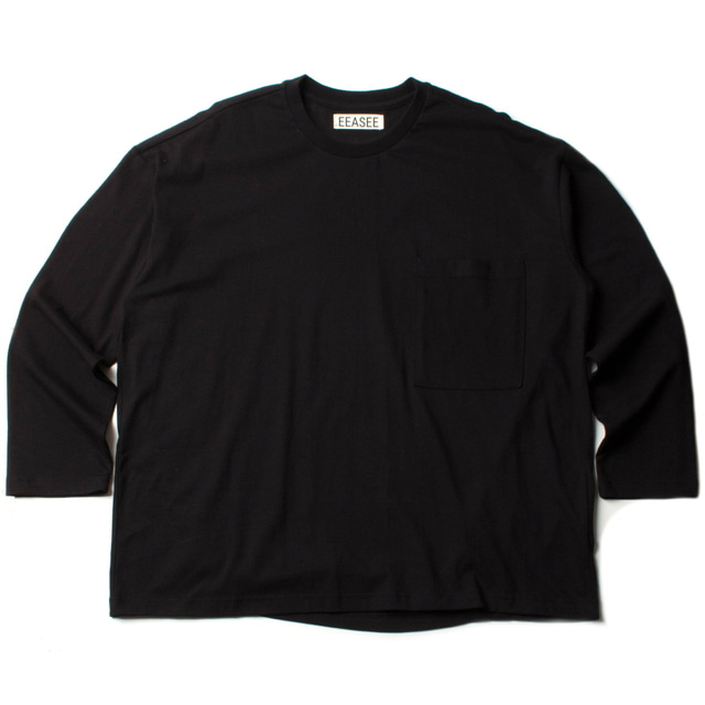 2 TUCK L/S WIDE T_BLACK