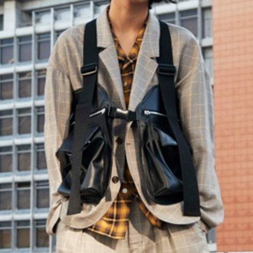FIELD VEST FAKE LEATHER_BLACK