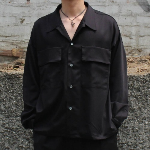 DOUBLE POCKETS BIG SHIRT_CUPRA SATEEN BLACK