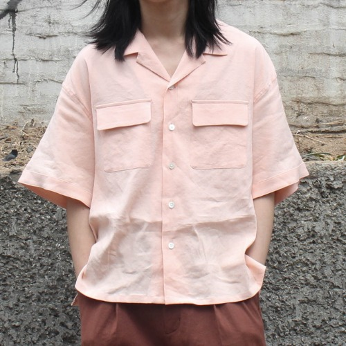 2 POCKETS OPEN SS SHIRT_STRETCH LINEN PINK