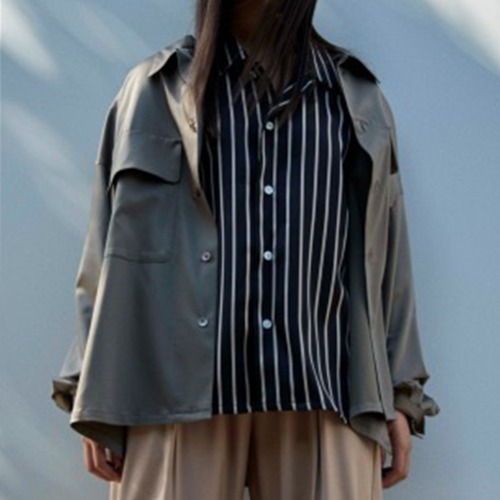 DOUBLE POCKETS BIG SHIRT_CUPRA SATEEN OLIVE