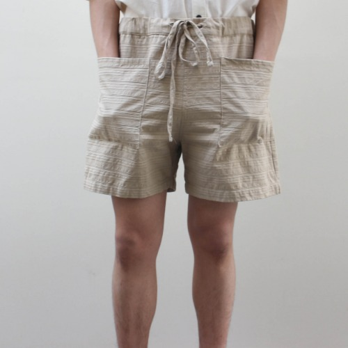 PATCH SHORTS_TAUPE TEXTURED STRIPE