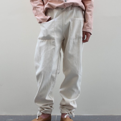 PATCH TROUSER_WHITE COTTON