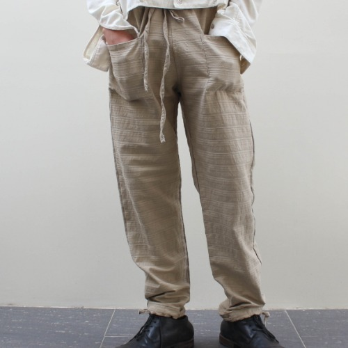 PATCH TROUSER_TAUPE TEXTURED STRIPE