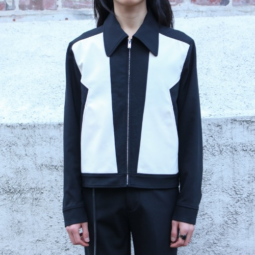 ZIG ZAG PANELED JACKET_BLACK/IVORY