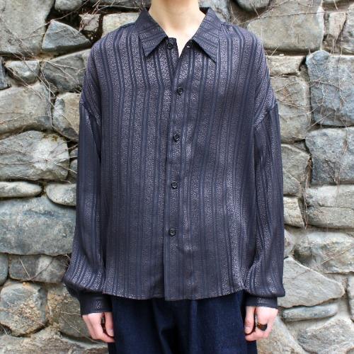 BIG SHIRT JACKET_BLACK JACQUARD STRIPE