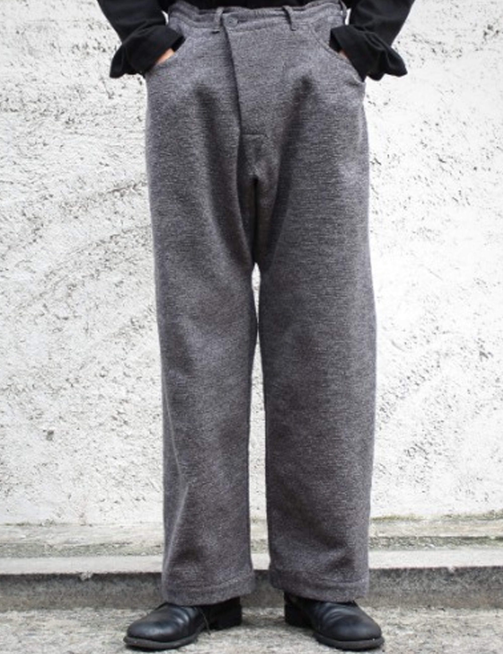 TROUSERS#53 - GREY MELE COTTON/WOOL DRILL