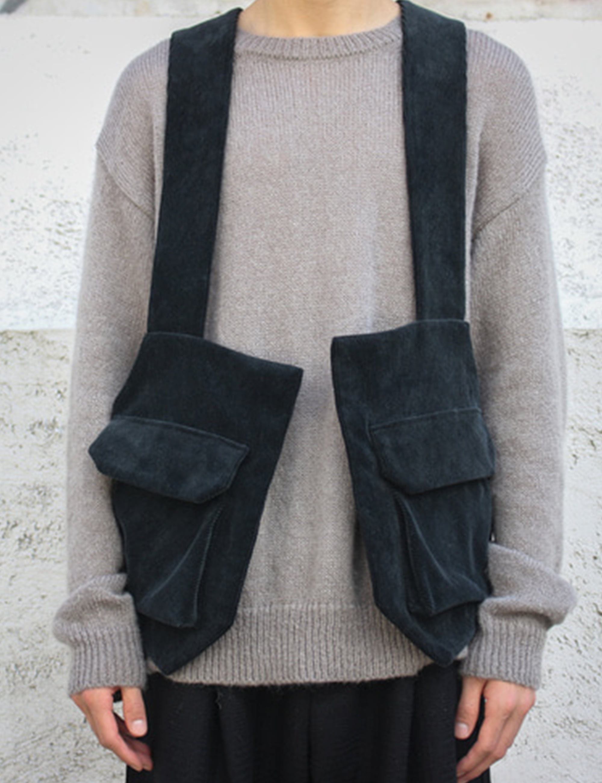 WASHING CORDUROY BACKPACK VEST_BLACK