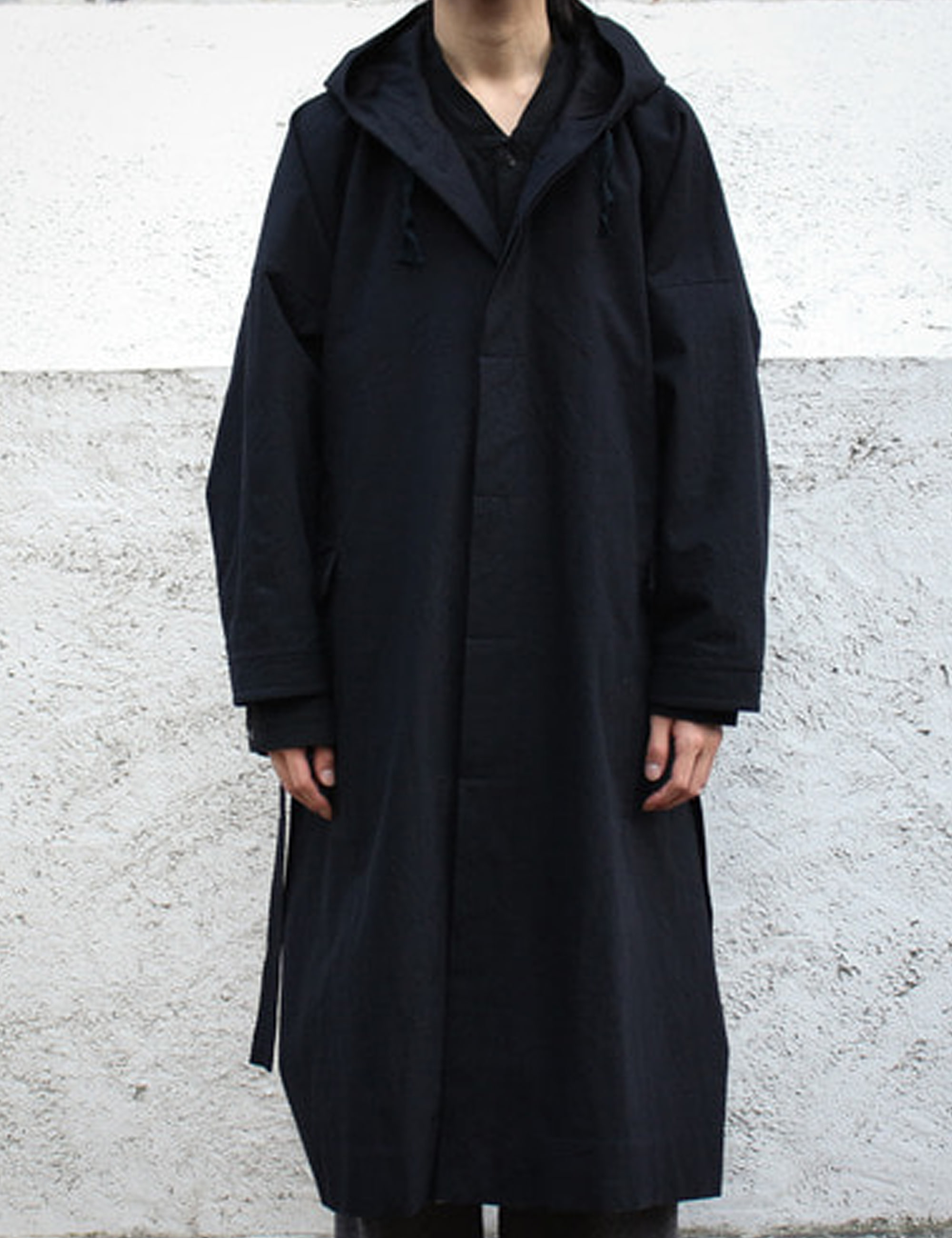 PARKA#6 - BLACK MELANGE COTTON/WOOL CANVAS