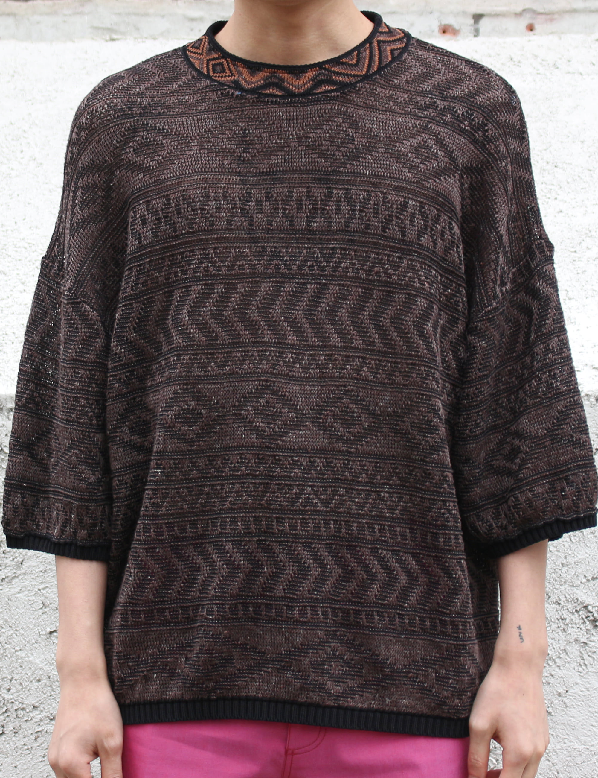 FREAK KNITTED T-SHIRT_BROWN