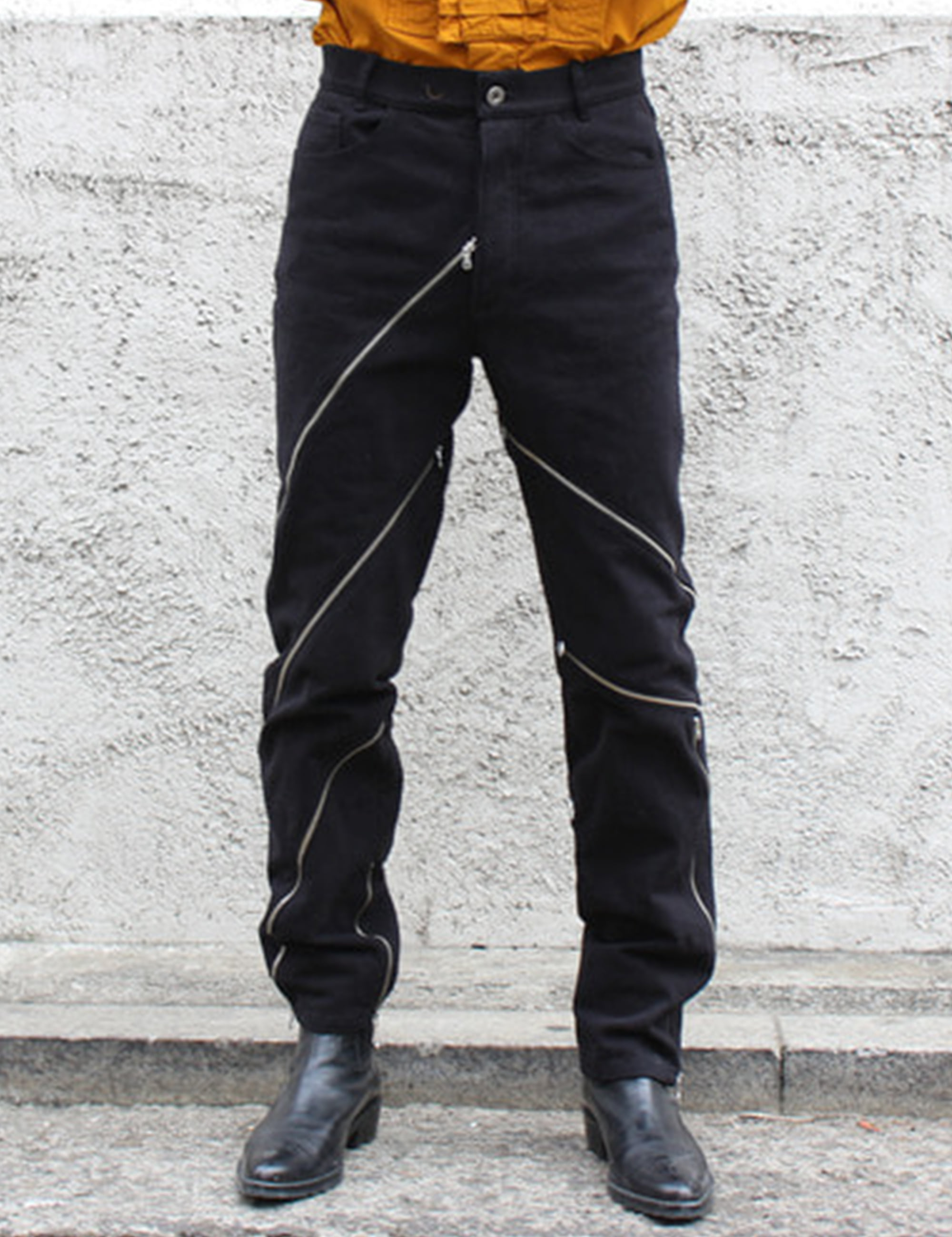 ZIPPED PANTS_BLACK