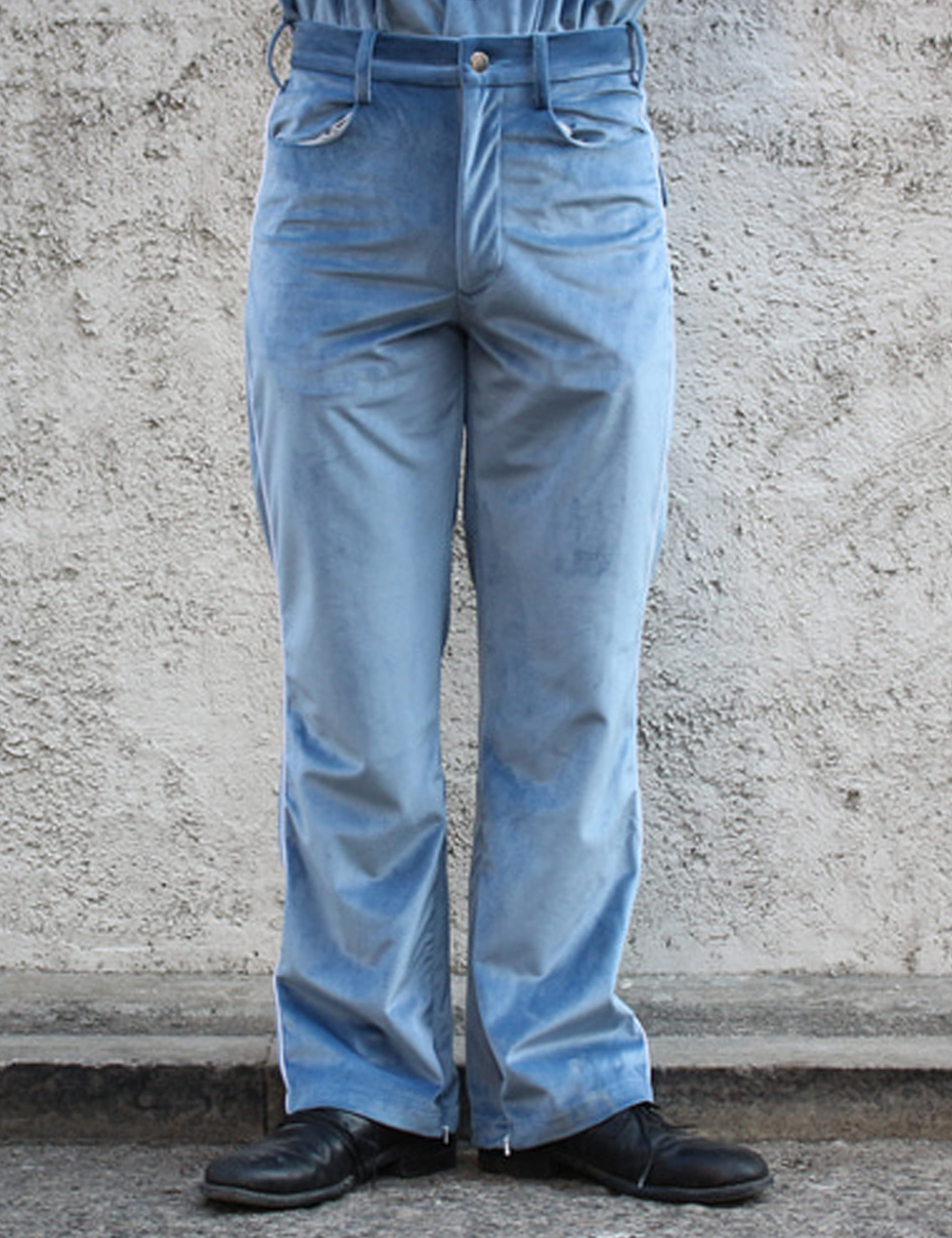 COWBOY ZIP TROUSER_VELOUR SAX