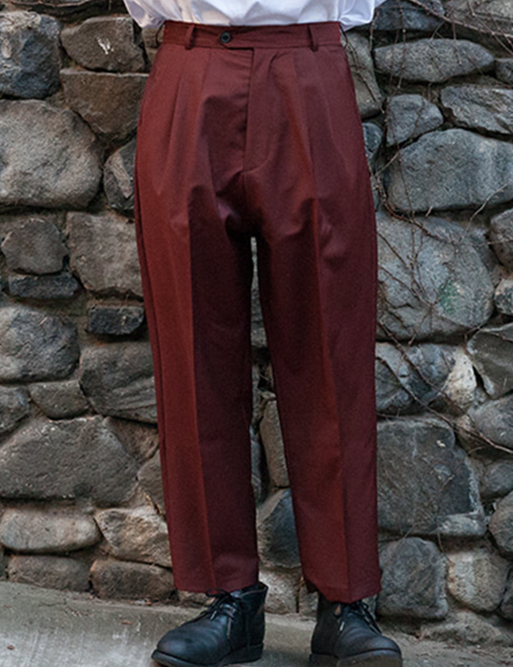 ORO DOUBLE PLEATED WIDE TROUSERS_ORANGE/ROUILLE