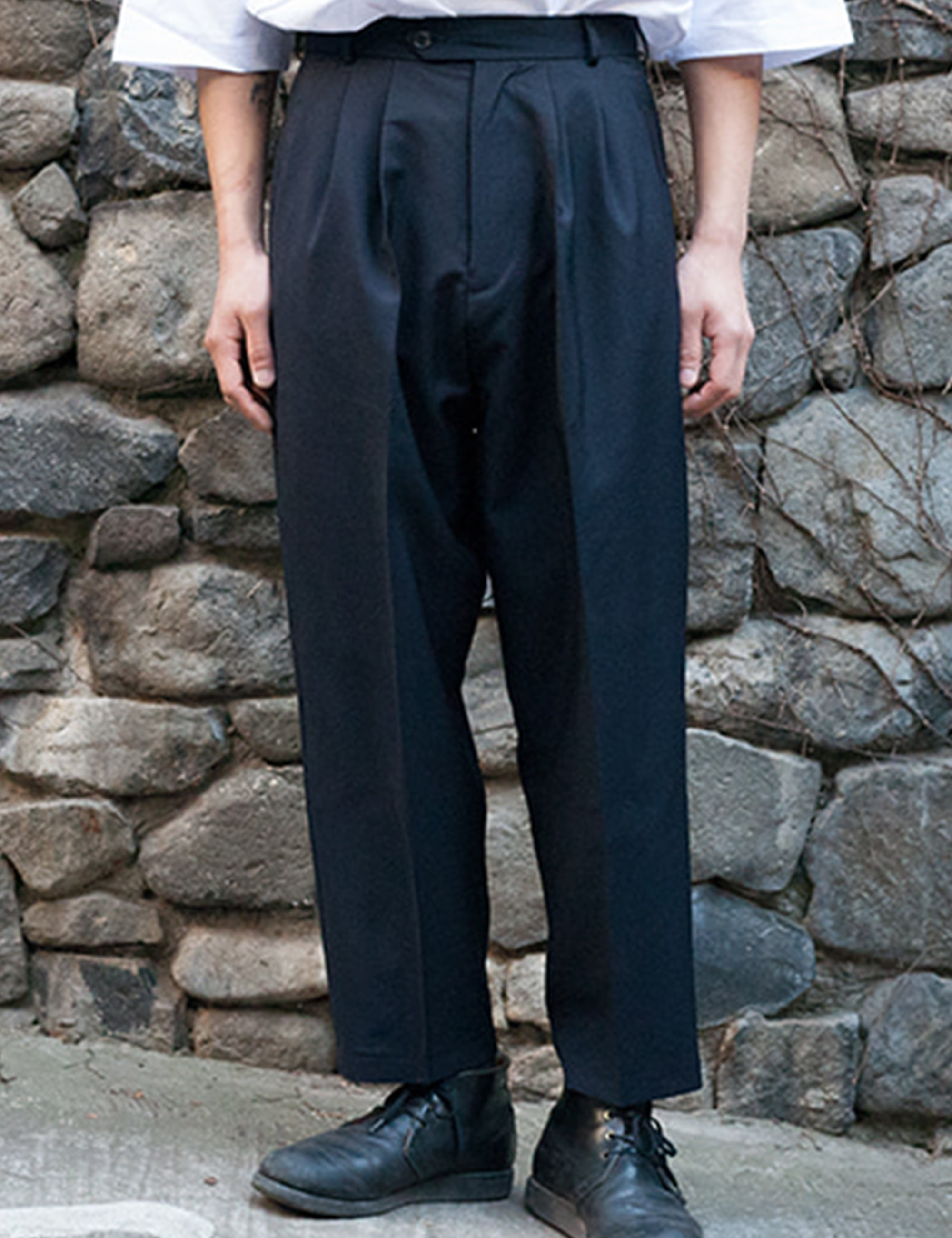 ORO DOUBLE PLEATED WIDE TROUSERS_NAVY