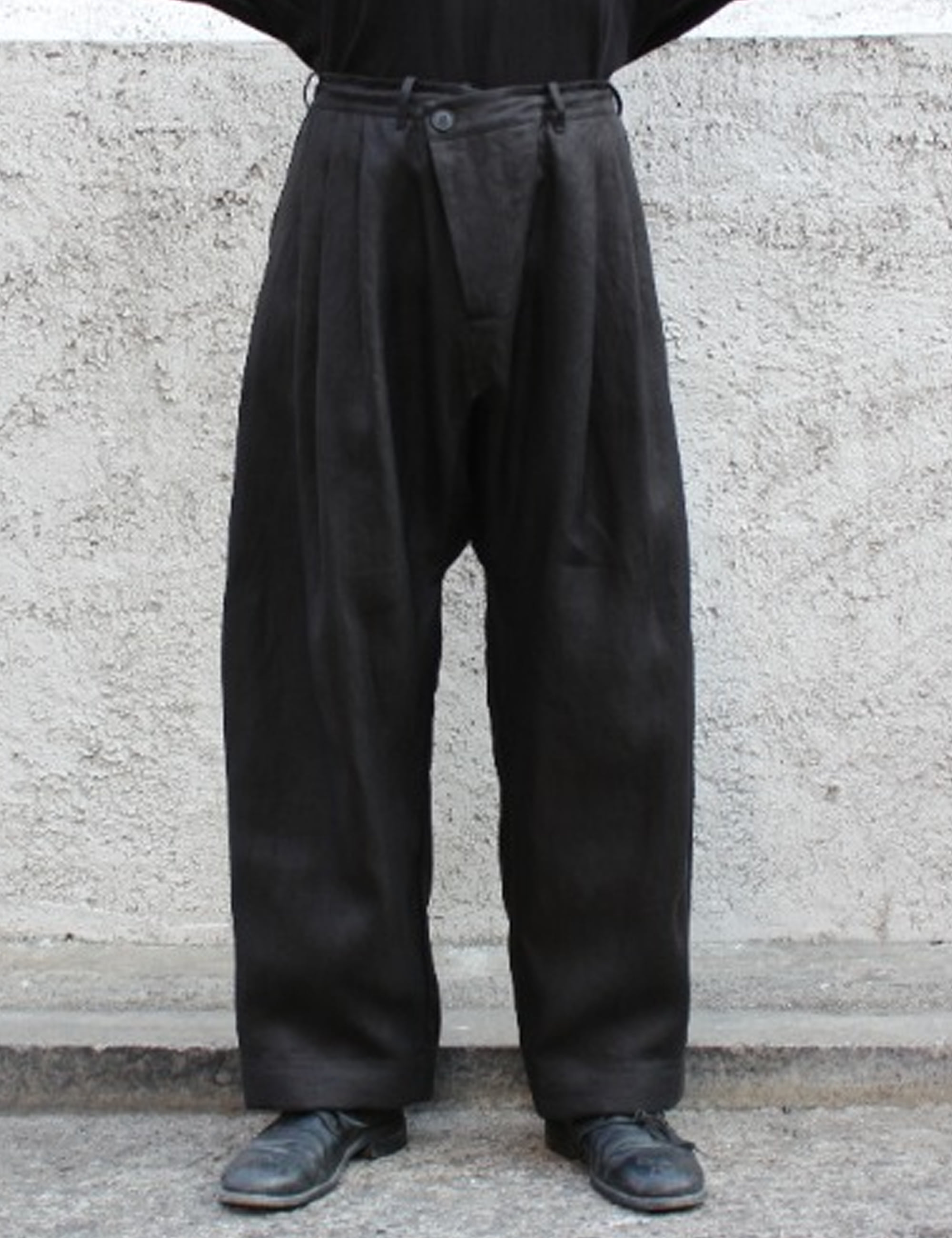 TROUSERS#55_BLACK HEMP TWILL