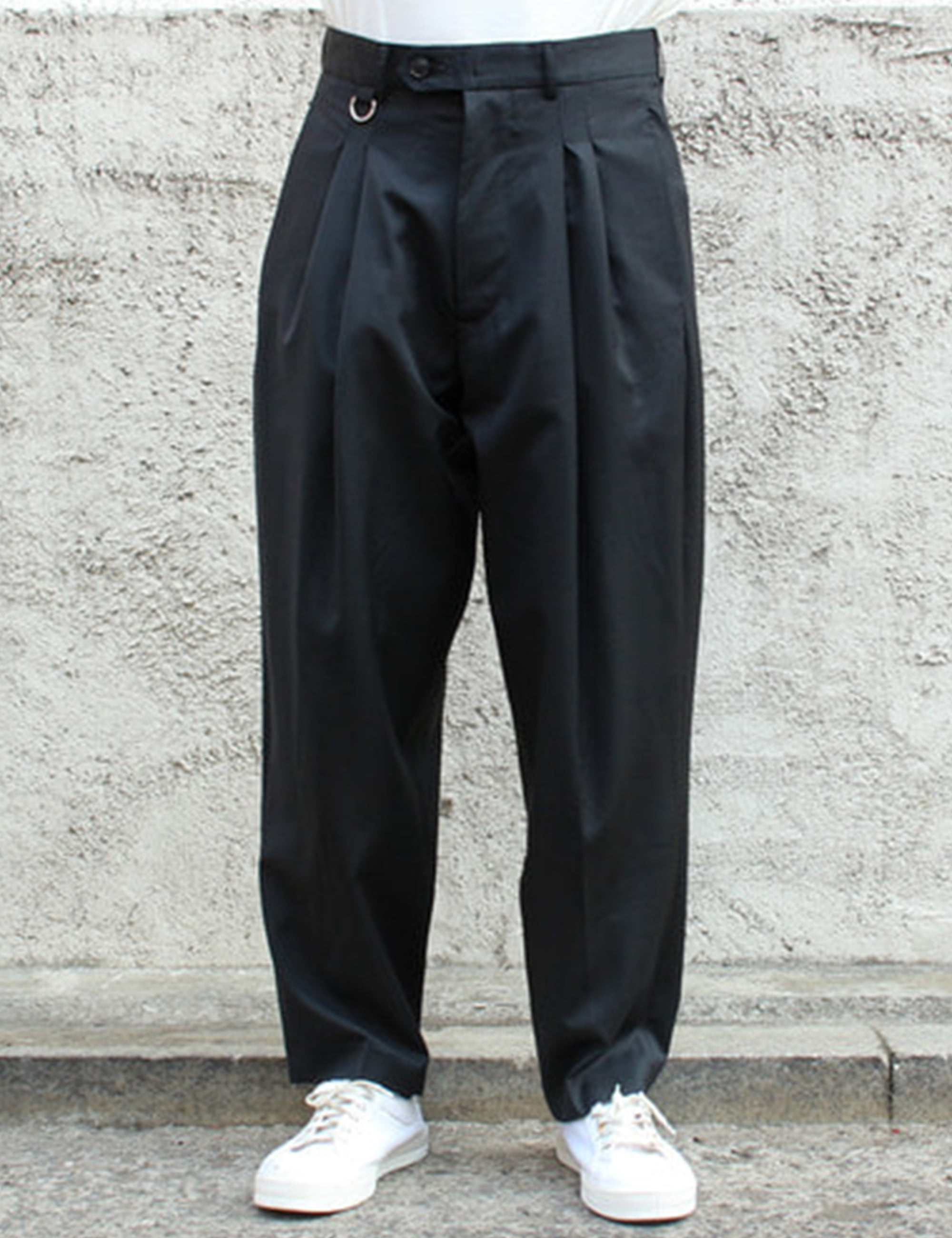DOUBLE PLEATED WIDE PANTS_BLACK