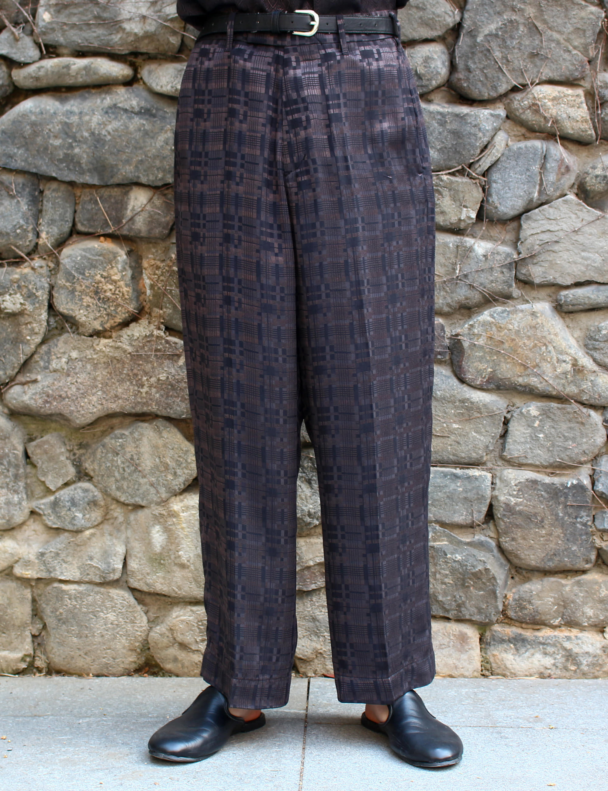 NO TUCK WIDE TROUSER_BLACK JAQUARD BLOCK