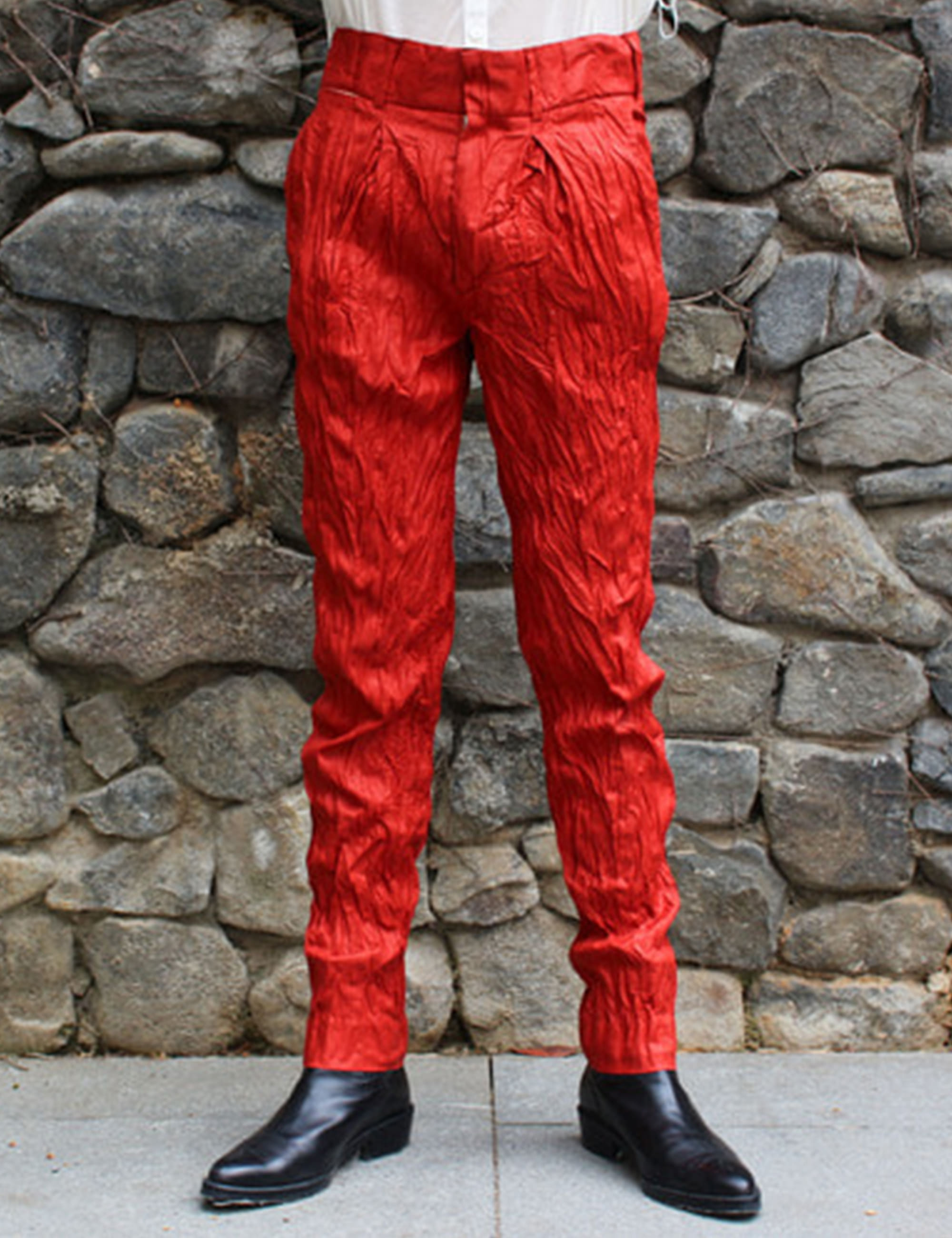 WRINKLE LINEN TROUSERS_RED