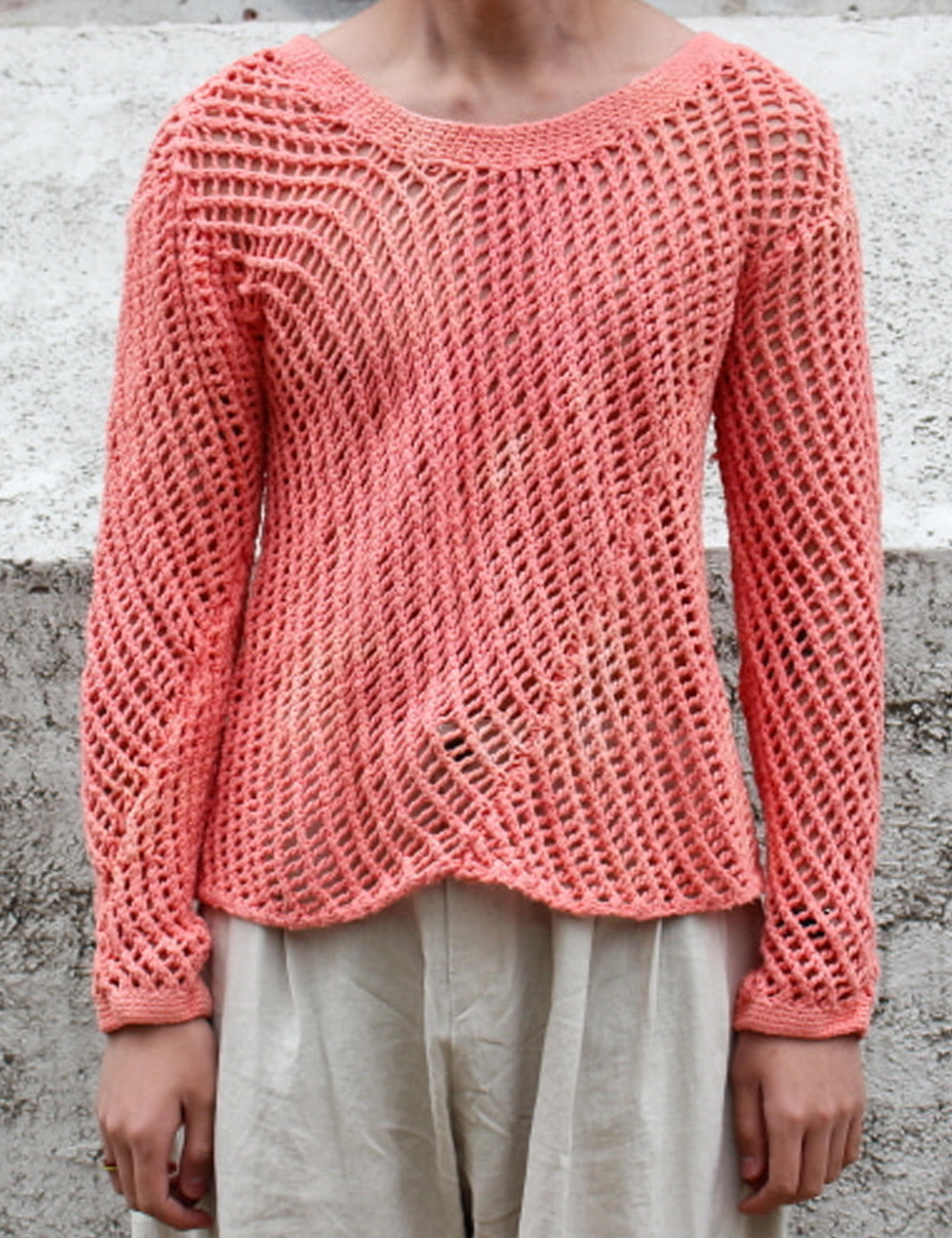 HAND DYED KNITTED LONG SLEEVE JUMPER_LIGHT RED