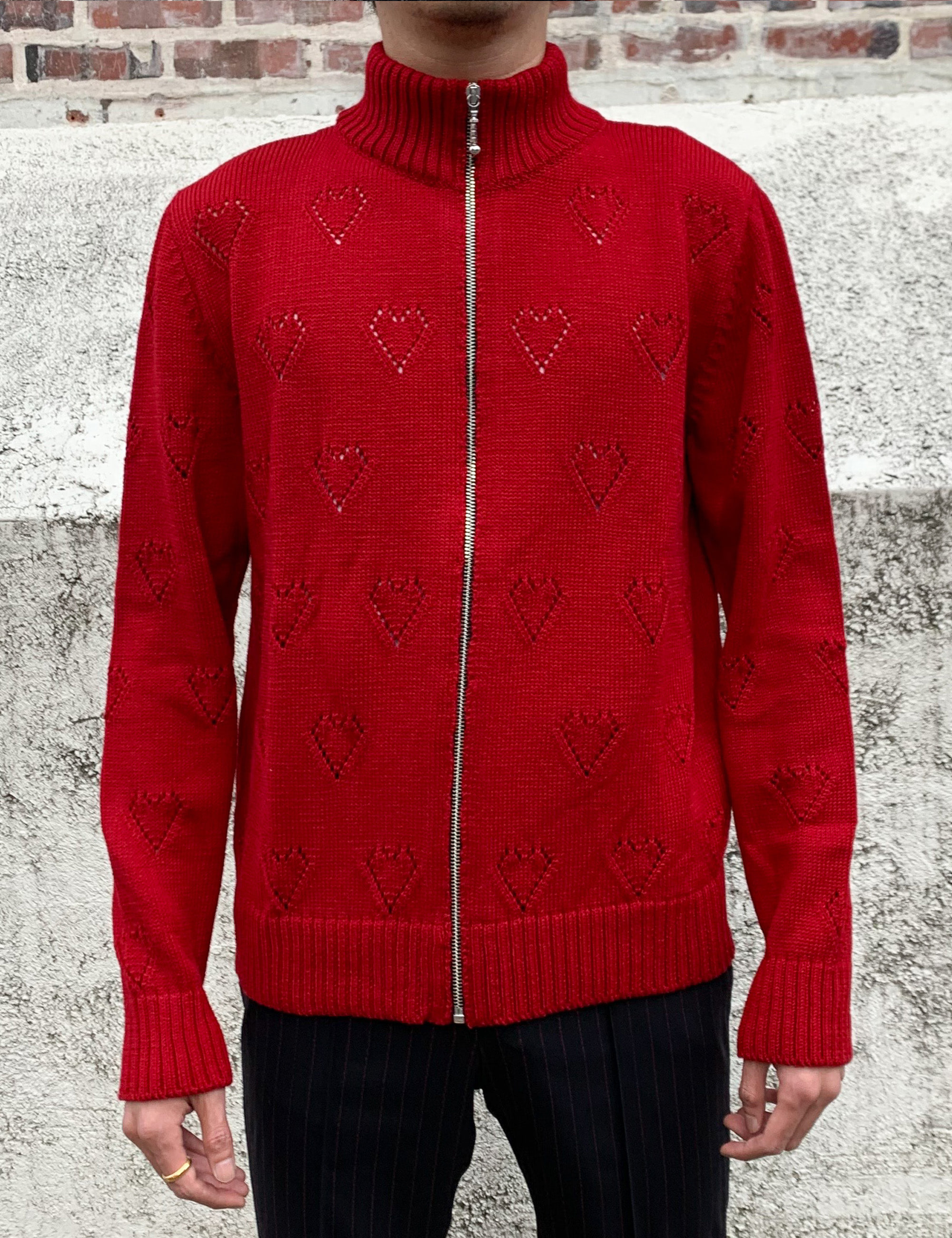 KNIT TRACK TOP_RED HEARTS