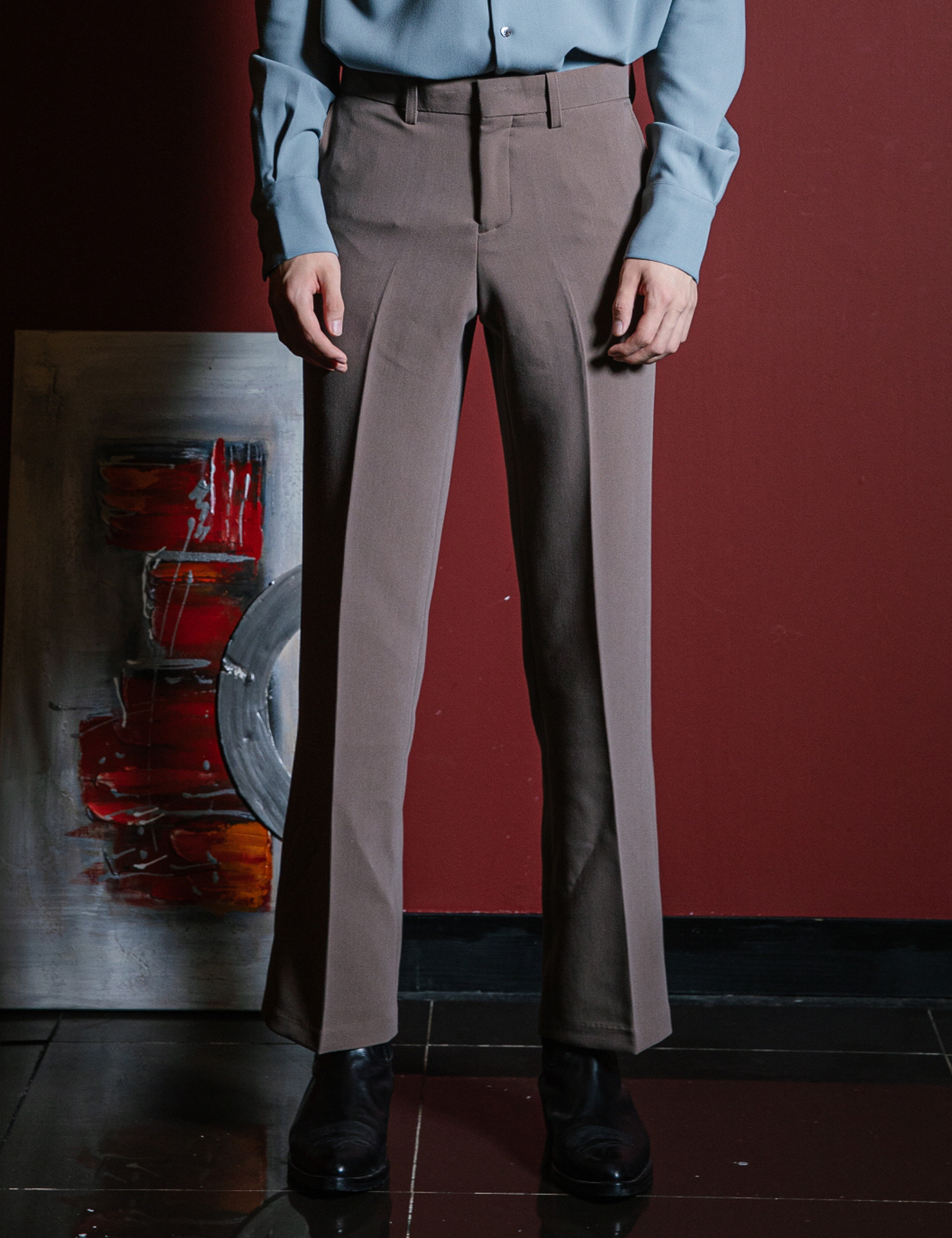 CLASSIC TAILORED SUIT PANTS_BROWN
