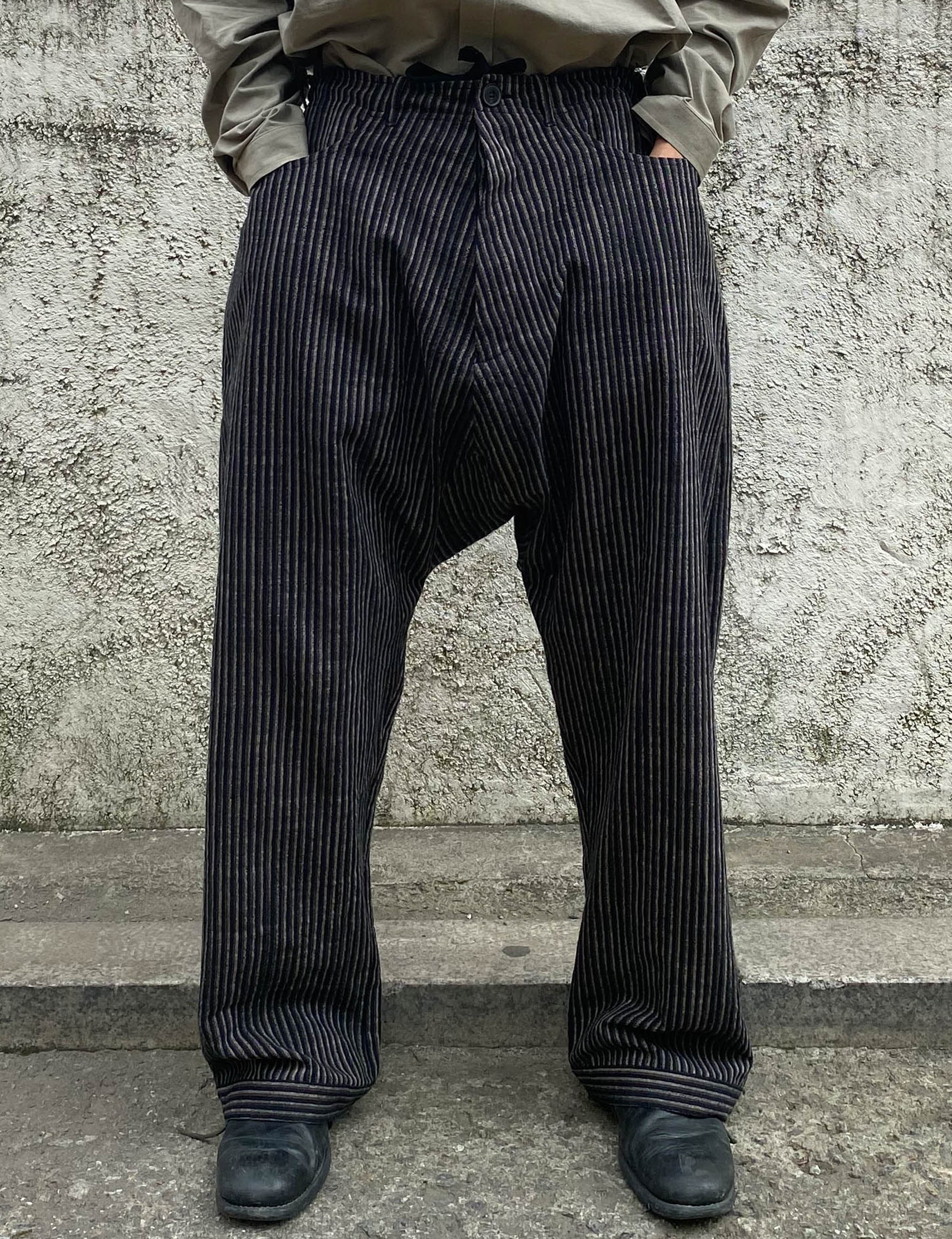 TROUSERS_STRIPED ORGANIC COTTON CLOTH