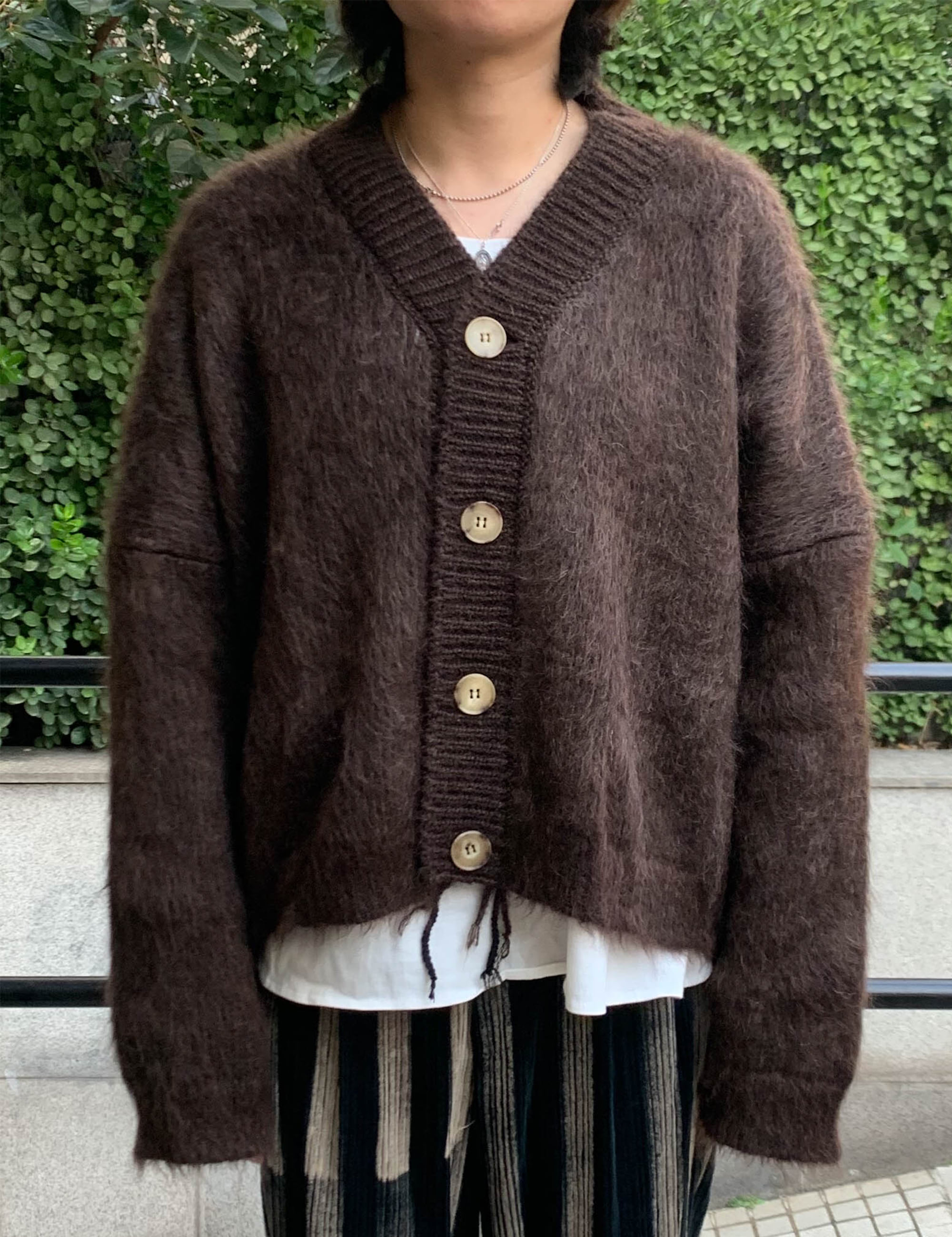 HAIRY CARDIGAN_BROWN
