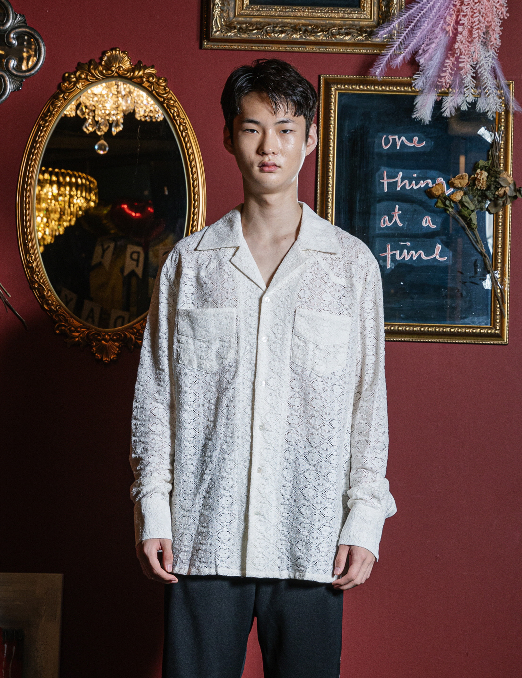 WESTERN L/S SHIRTS_WHITE LACE