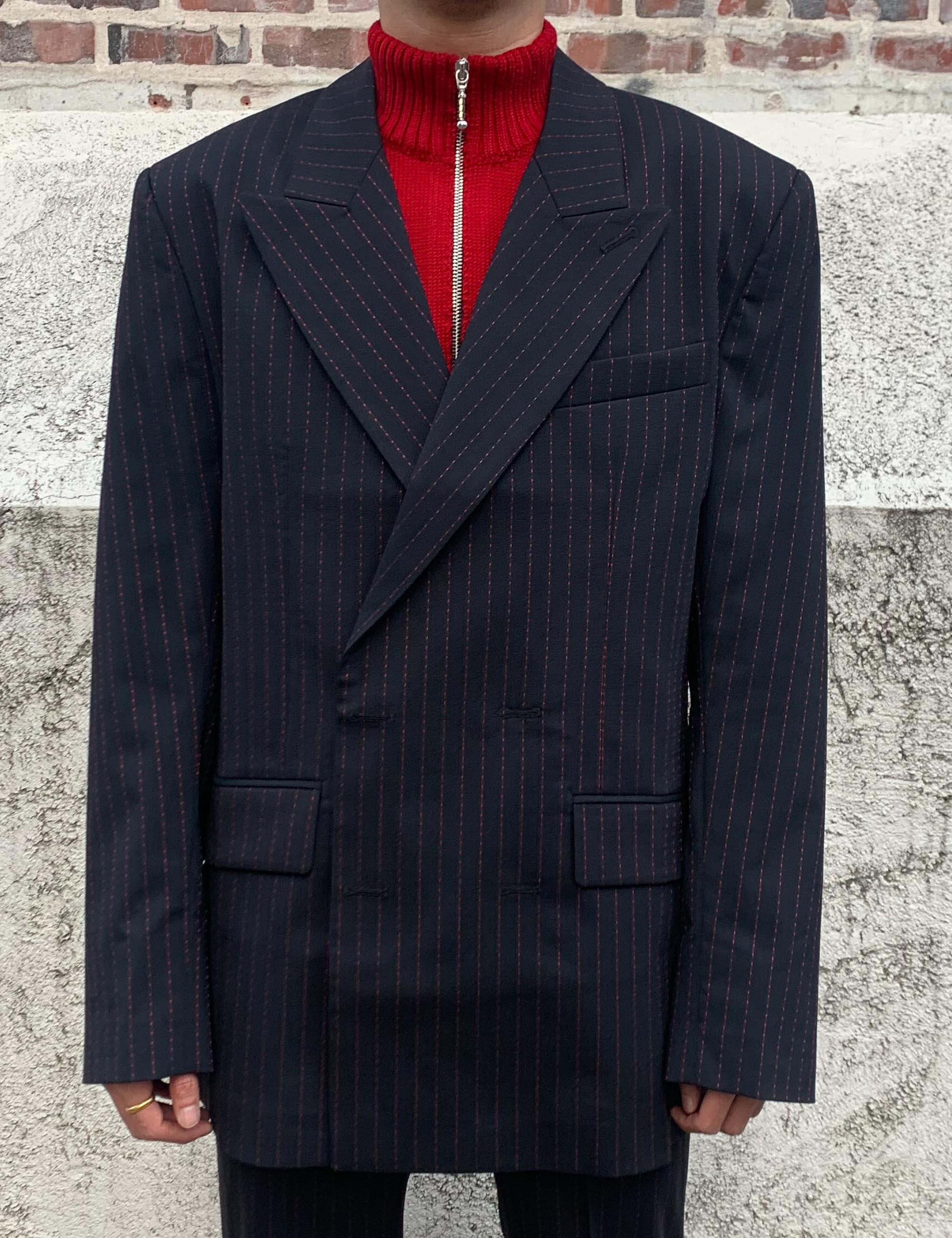 DOUBLE BREASTED BLAZER_BLACK W/RED STRIPES
