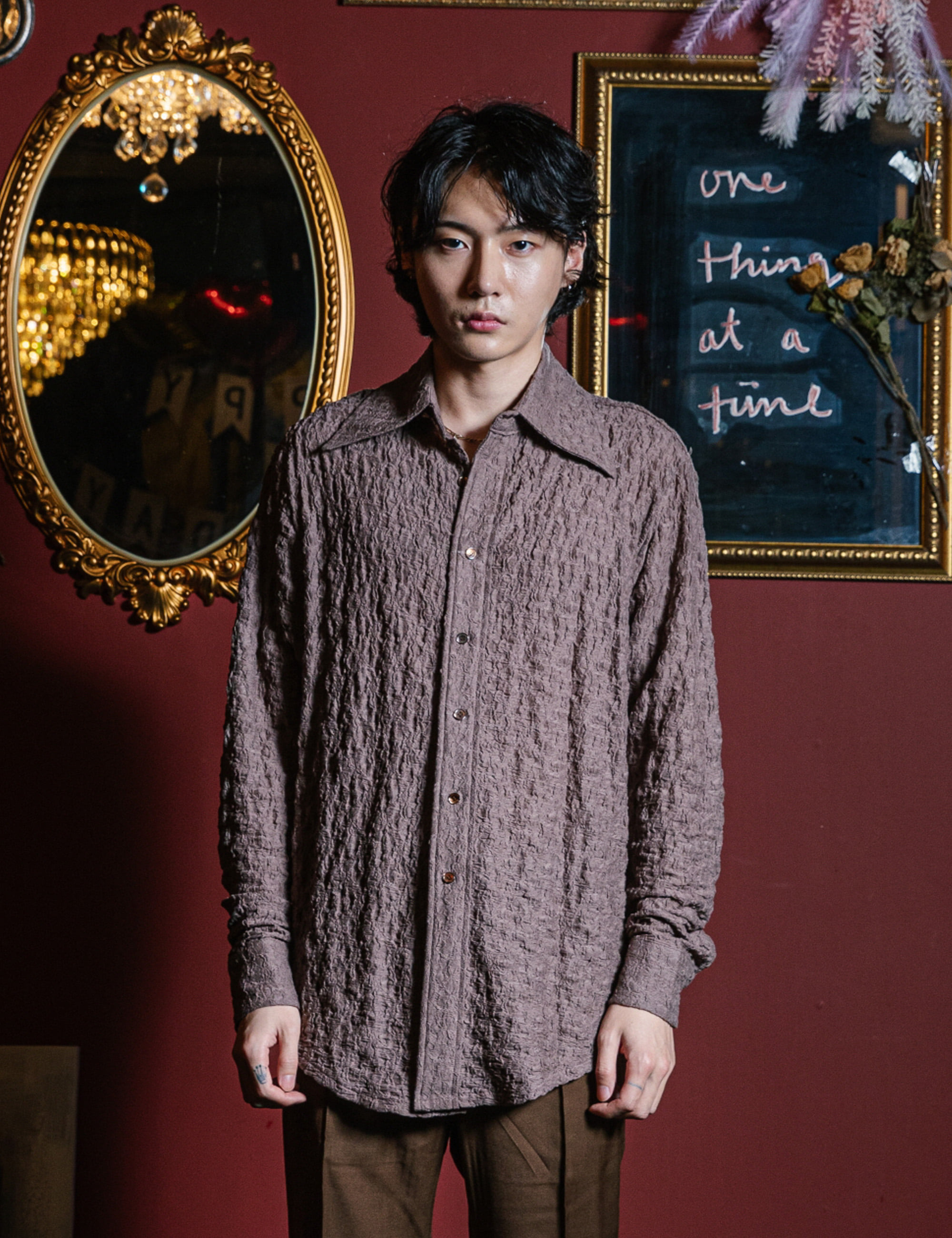 CLASSIC L/S SHIRTS_BROWN LACE
