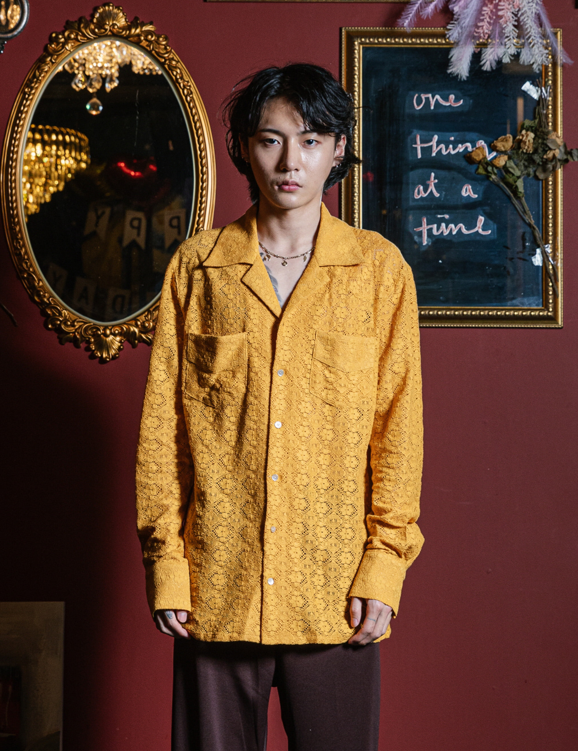 WESTERN L/S SHIRTS_YELLO LACE