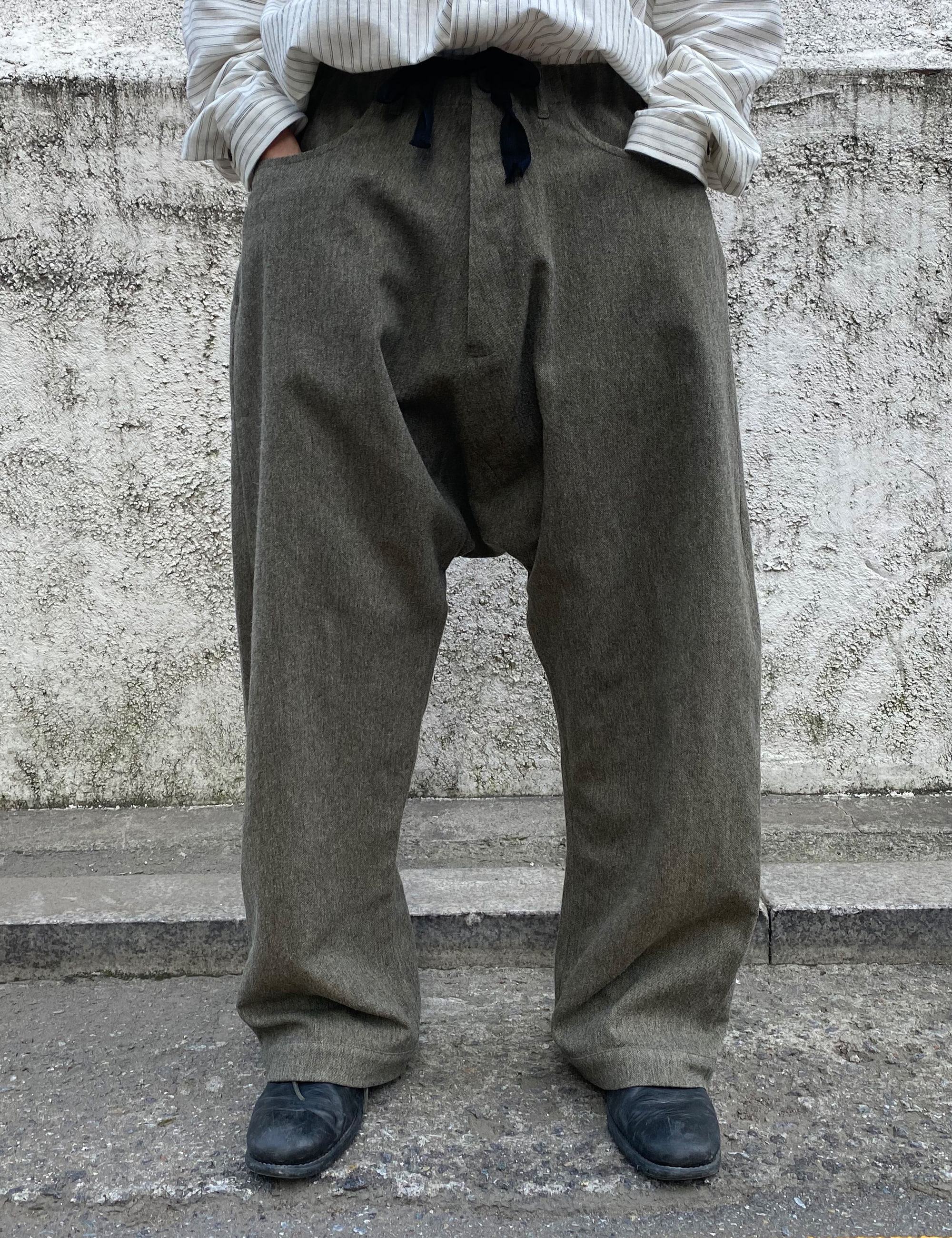 TROUSERS_PEPPER WASHED WOOL/LINEN TWILL