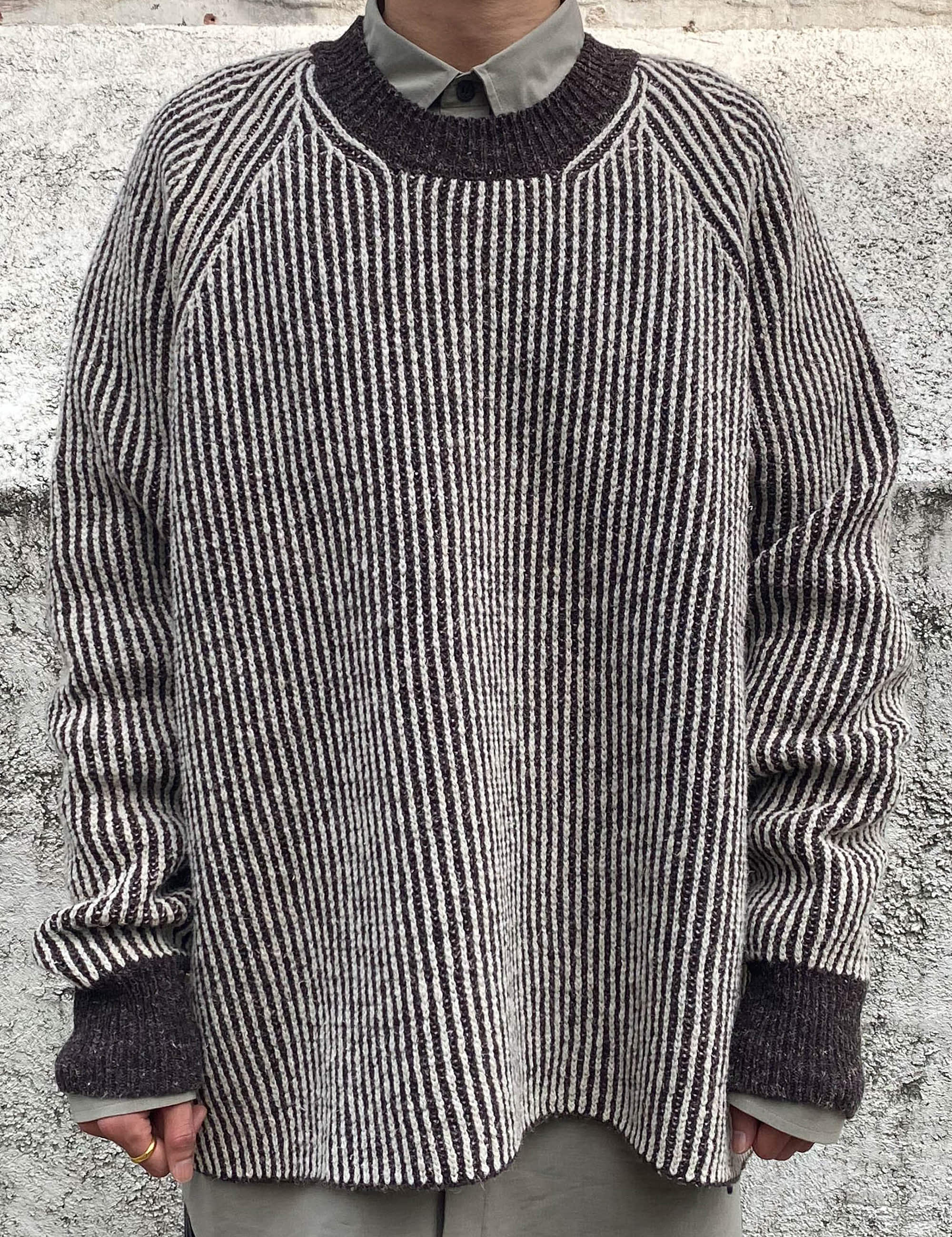 KNIT_NATURAL/DARK BROWN STRIPED MERICHAN