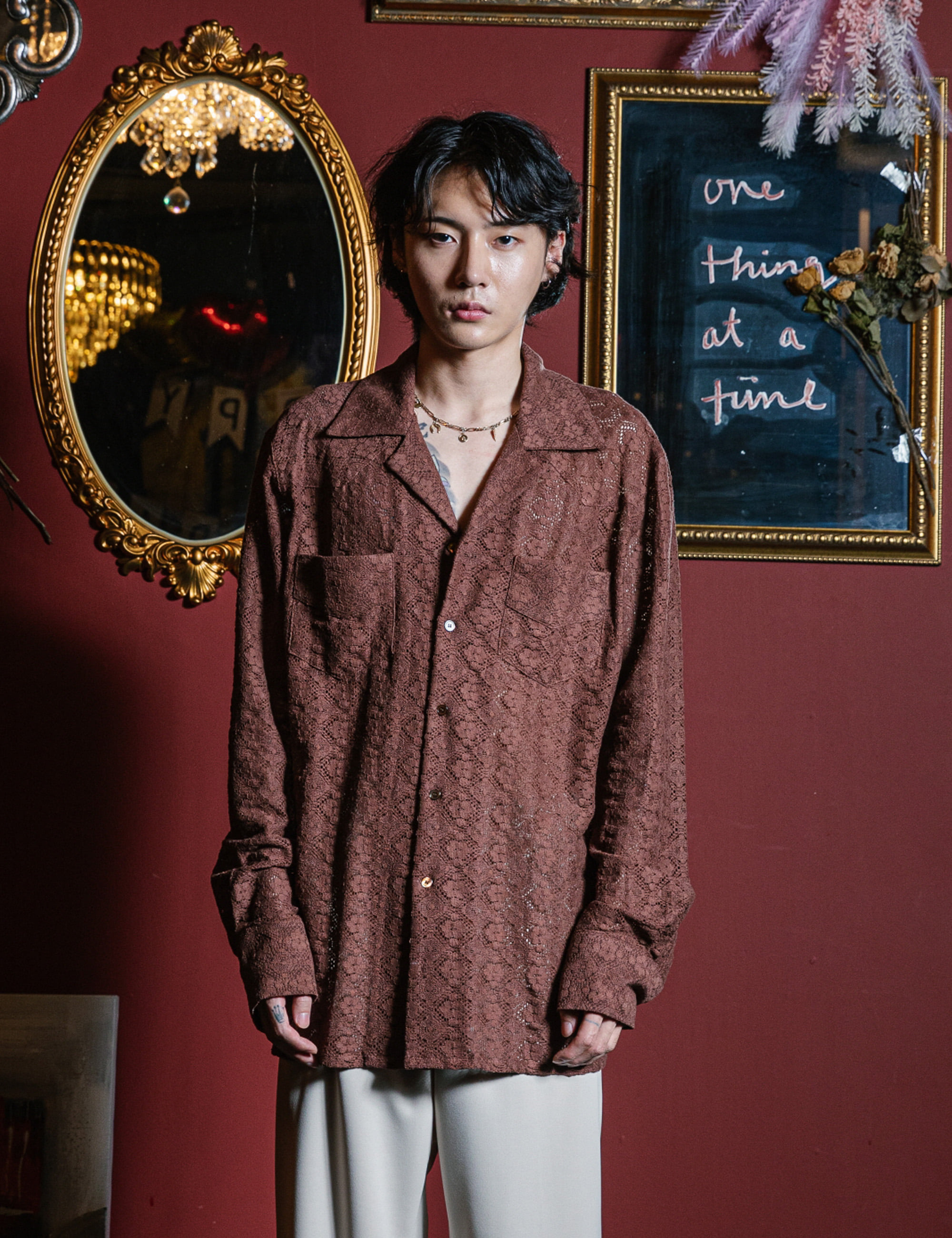 WESTERN L/S SHIRTS_BROWN LACE