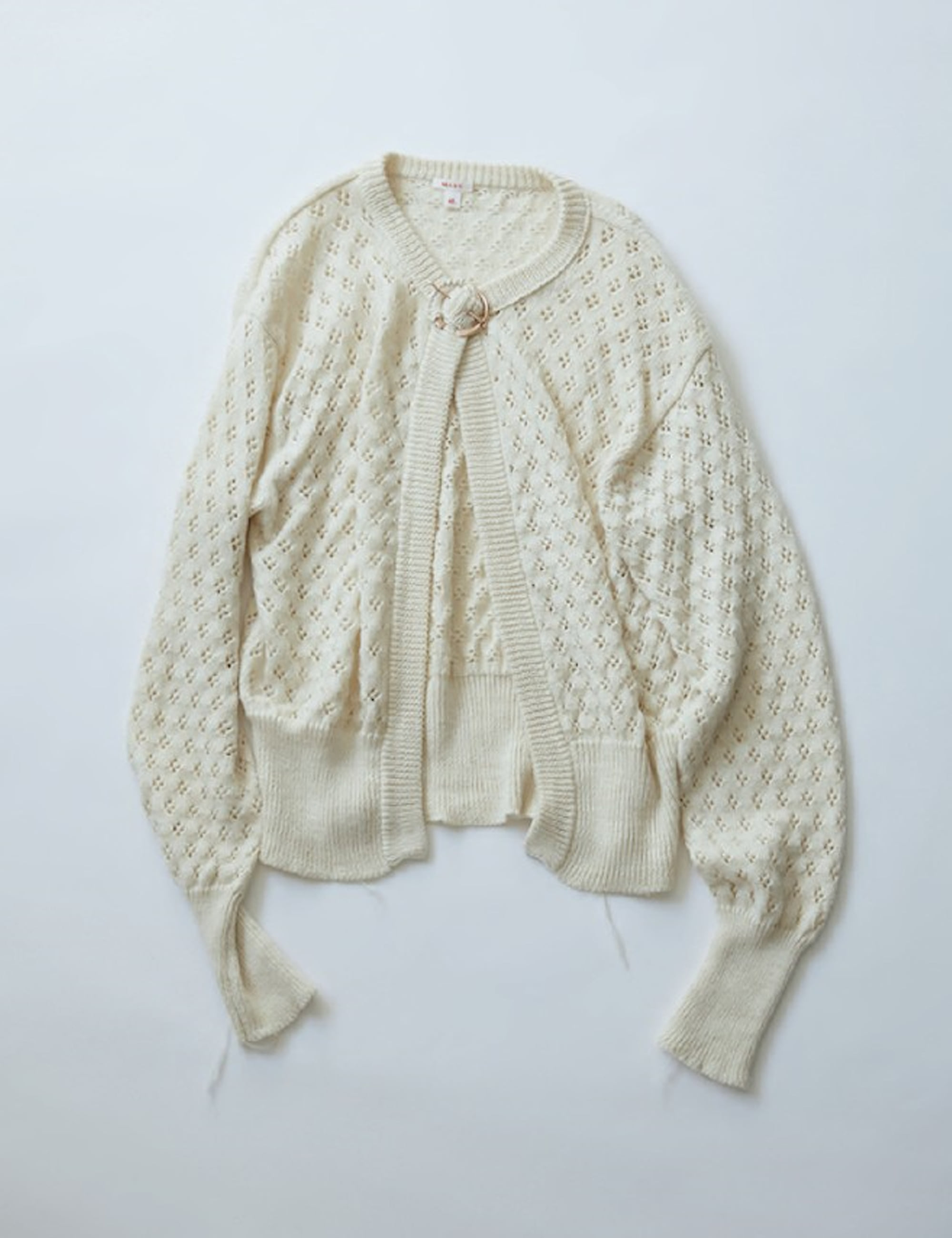 LACE KNIT CARDIGAN_OFF WHITE
