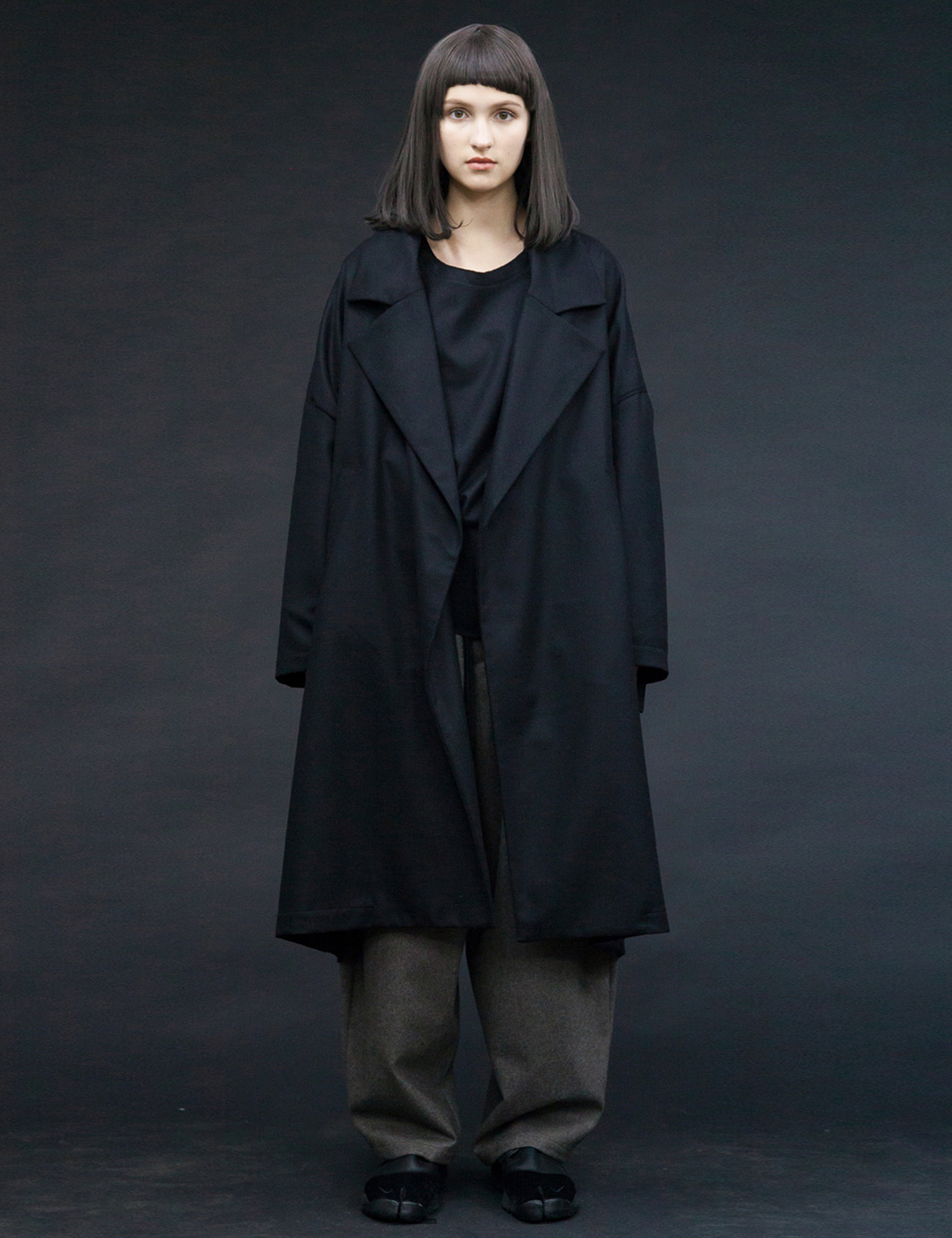 FLANNEL WOOL WIDE LONG COAT_BLACK