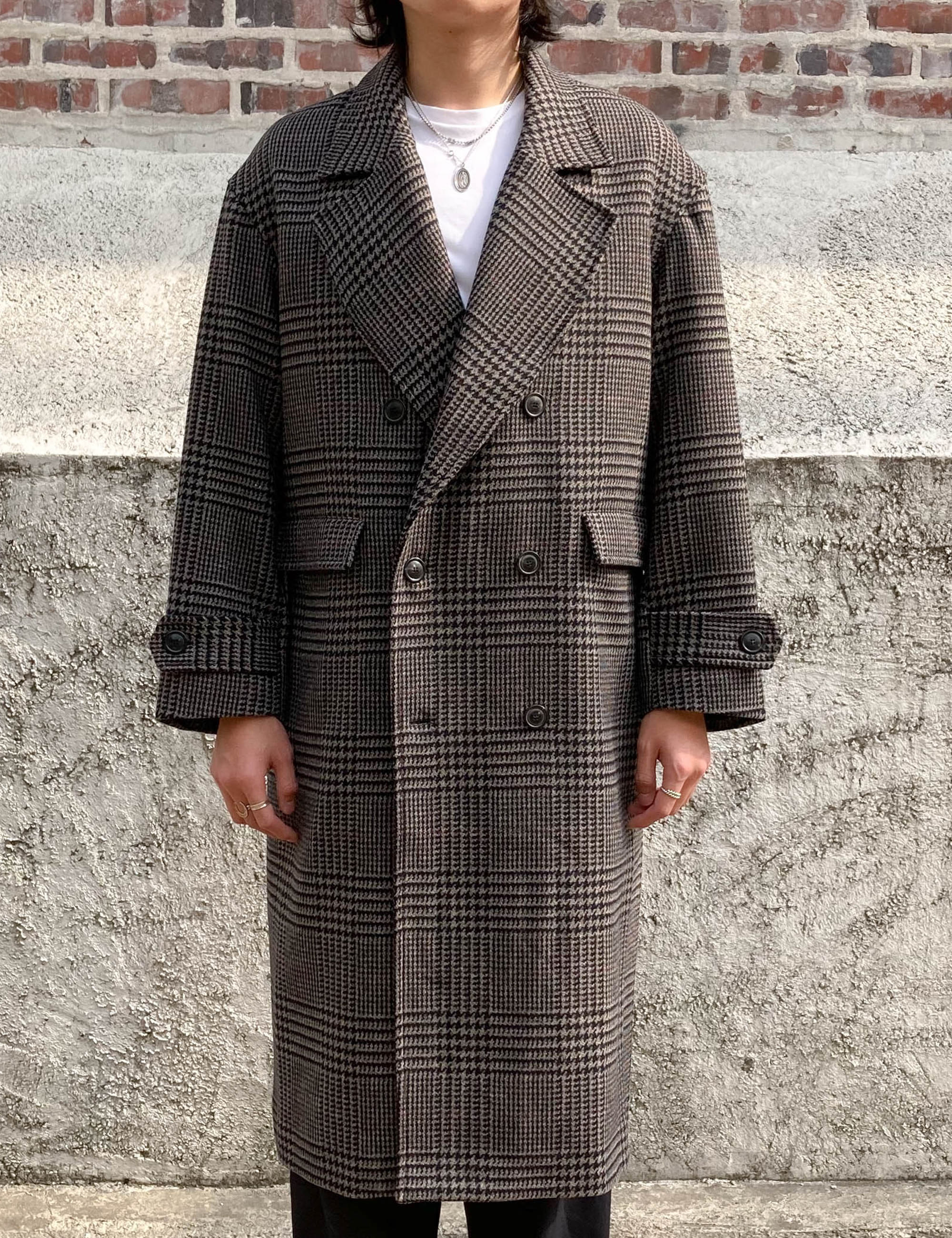 DOUBLE BREASTED OVERCOAT_LIGHT GREY CHECK