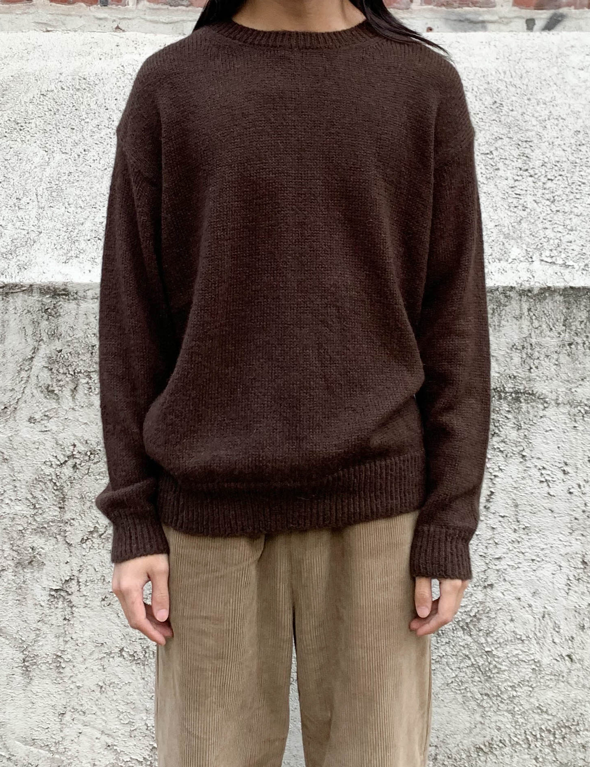 MOHAIR BASIC KNIT_BROWN