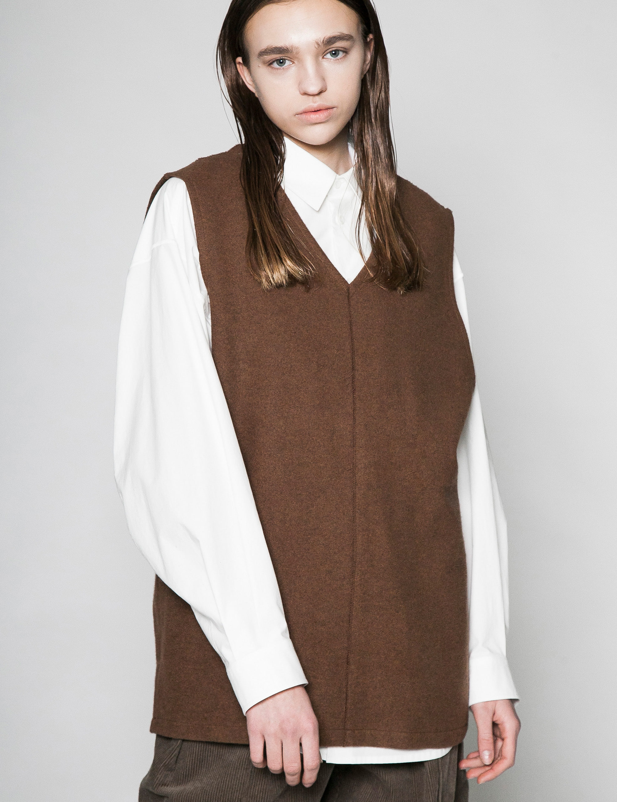 MELTON VEST_BROWN
