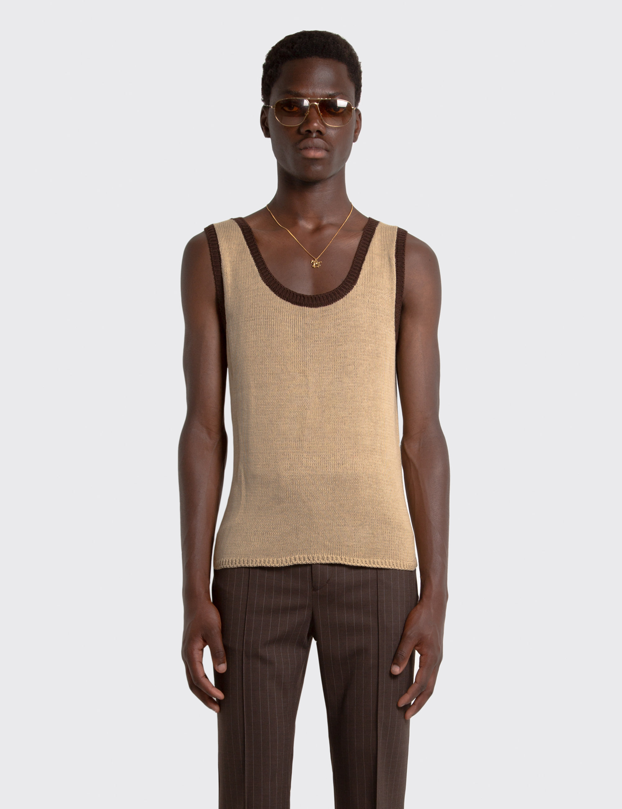 KNIT TANK TOP_BEIGE