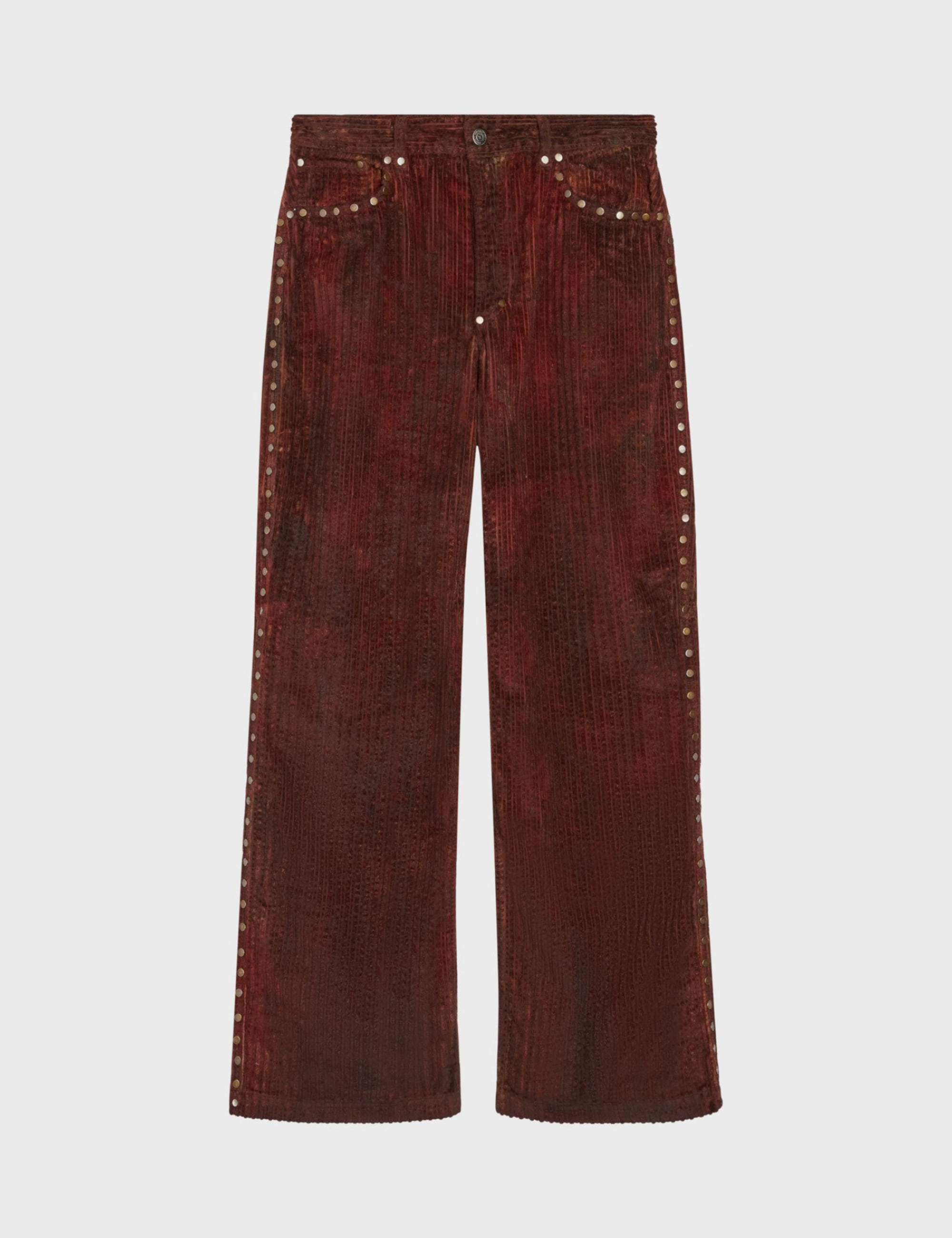 TIE-DYE STUDDED JEAN_BROWN