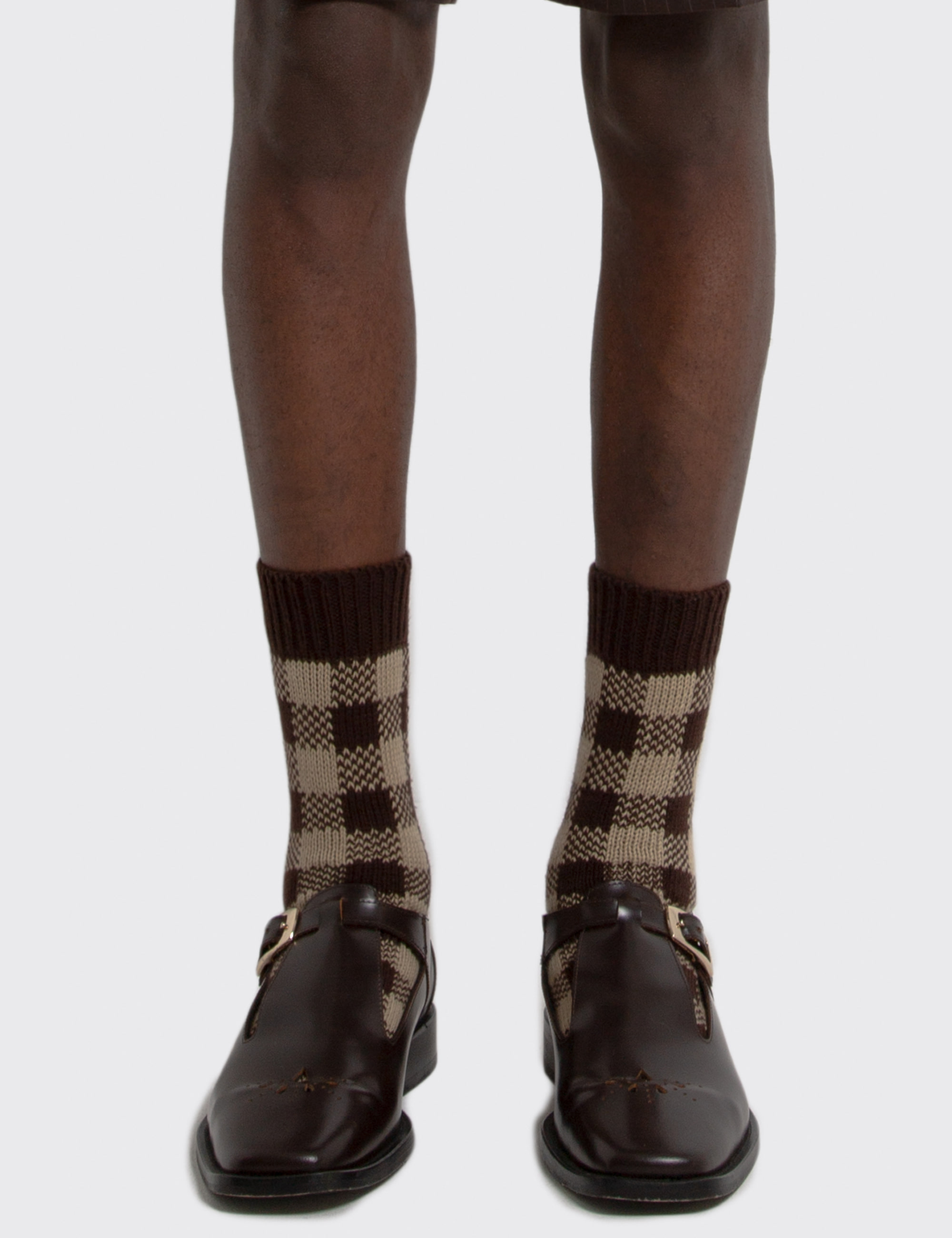 CHECK JACQUARD SOCKS_CAMEL&BROWN CHECK