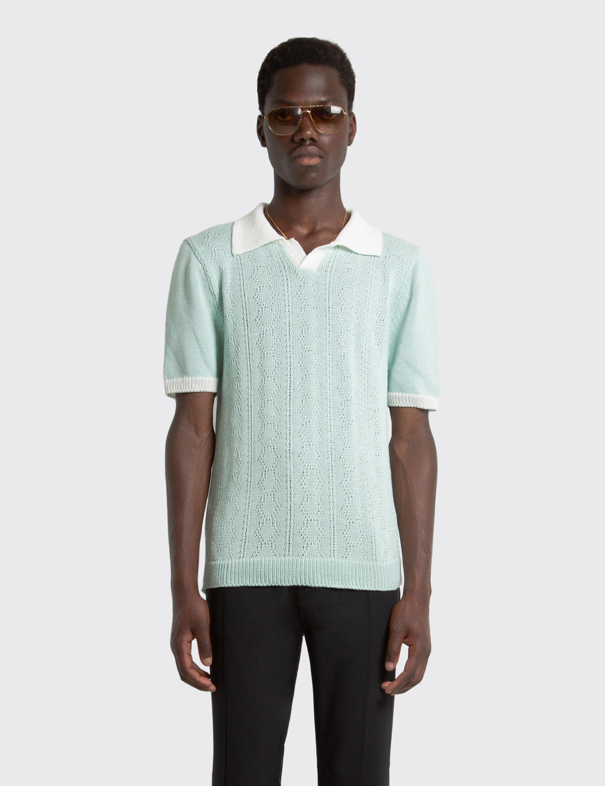 CABLE KNIT POLO_GREEN
