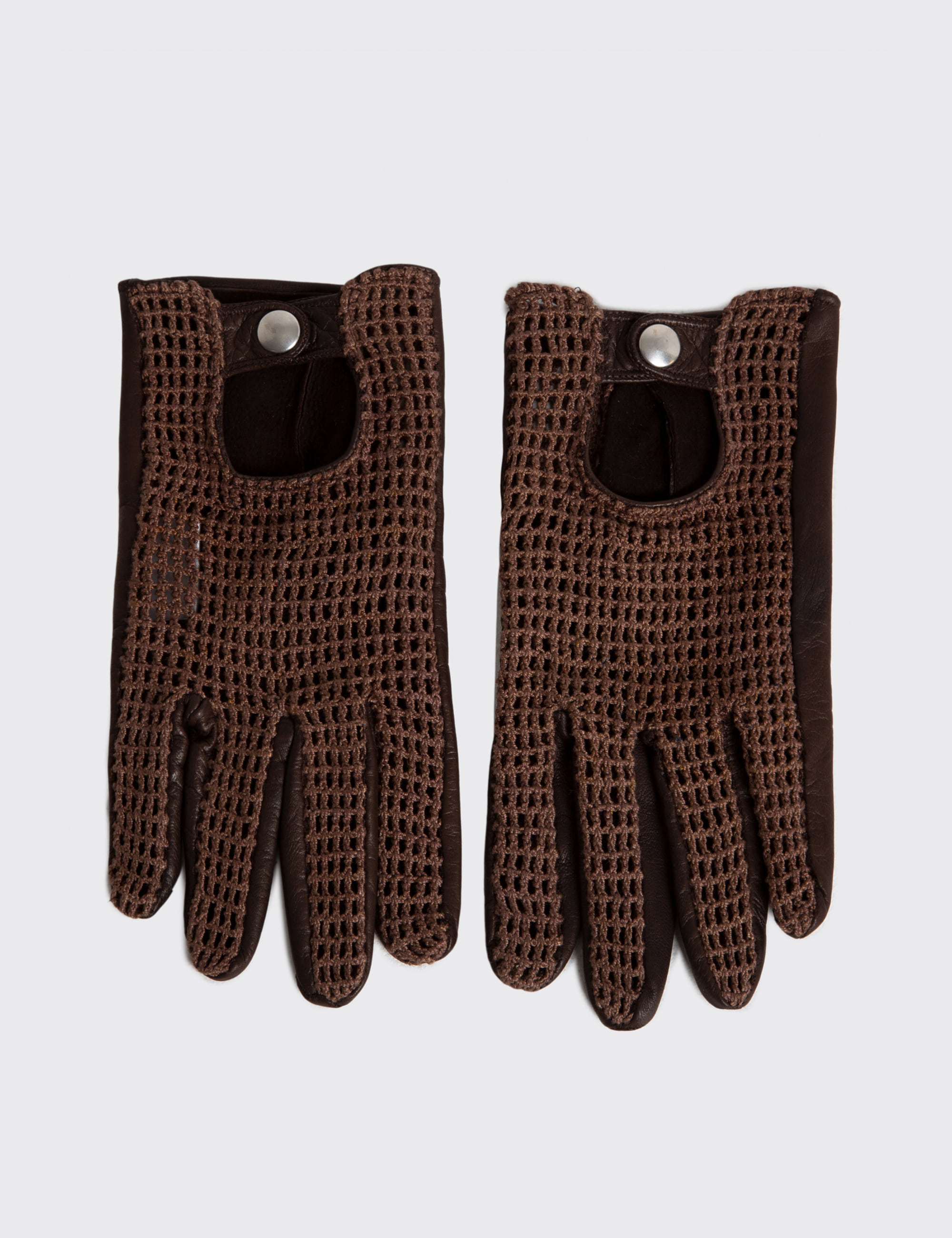 CROCHET GLOVES_DARK BROWN