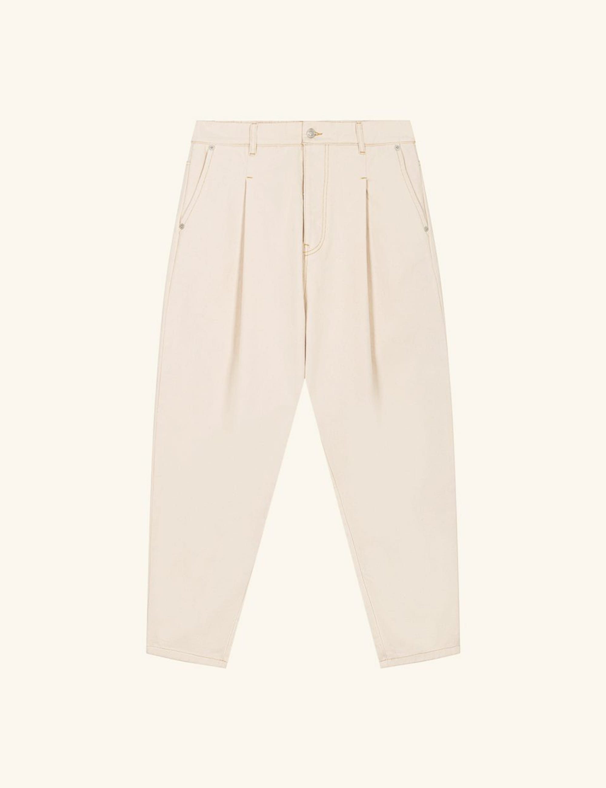 CROPPED DENIM PANTS_BEIGE