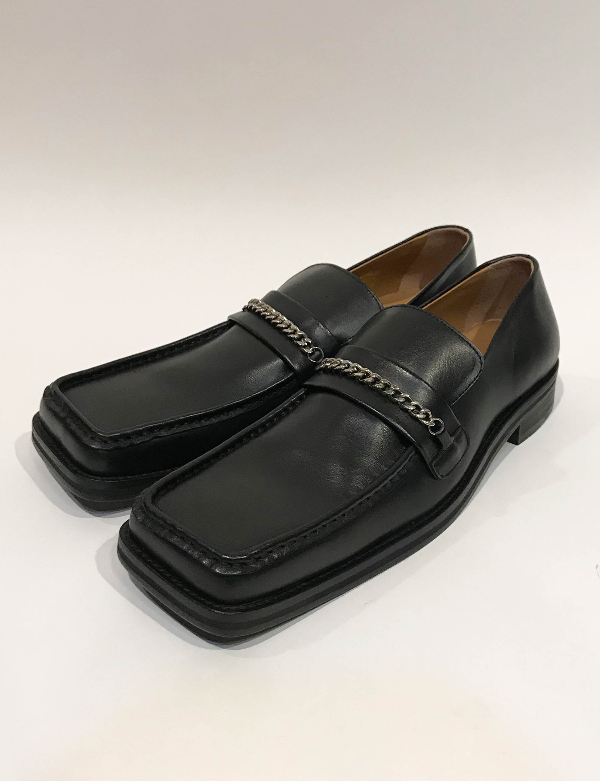 SQUARE TOE LOAFER_BLACK LEATHER