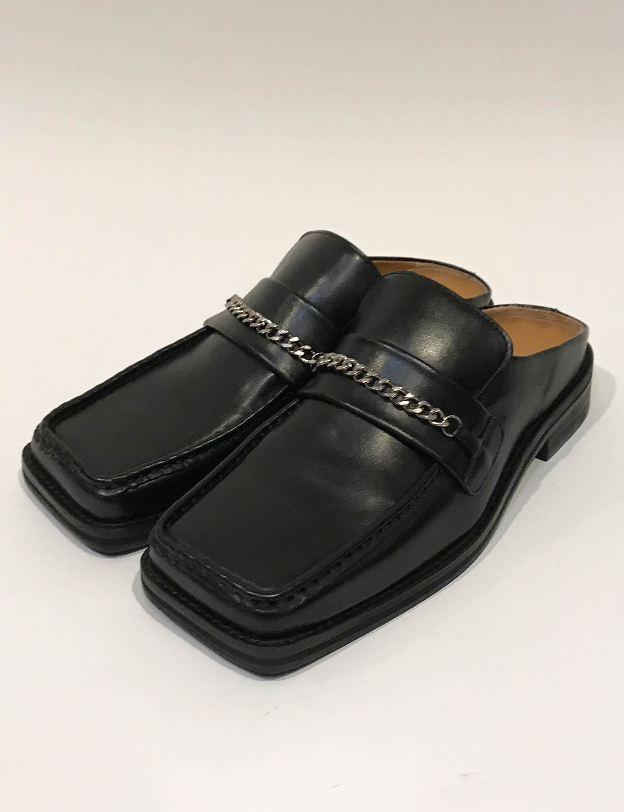 LOAFER MULE_BLACK LEATHER