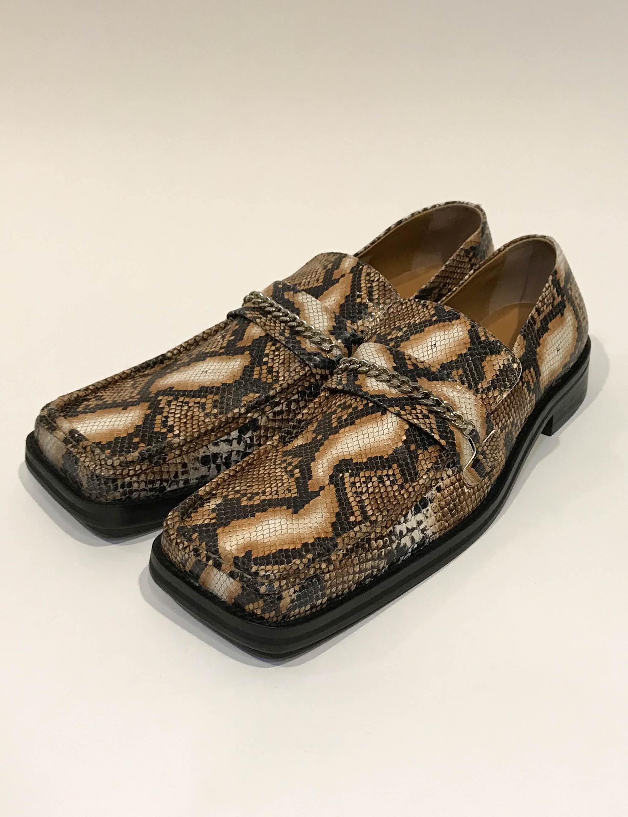SQUARE TOE LOAFER_NATURAL EMBOSSED SNAKE
